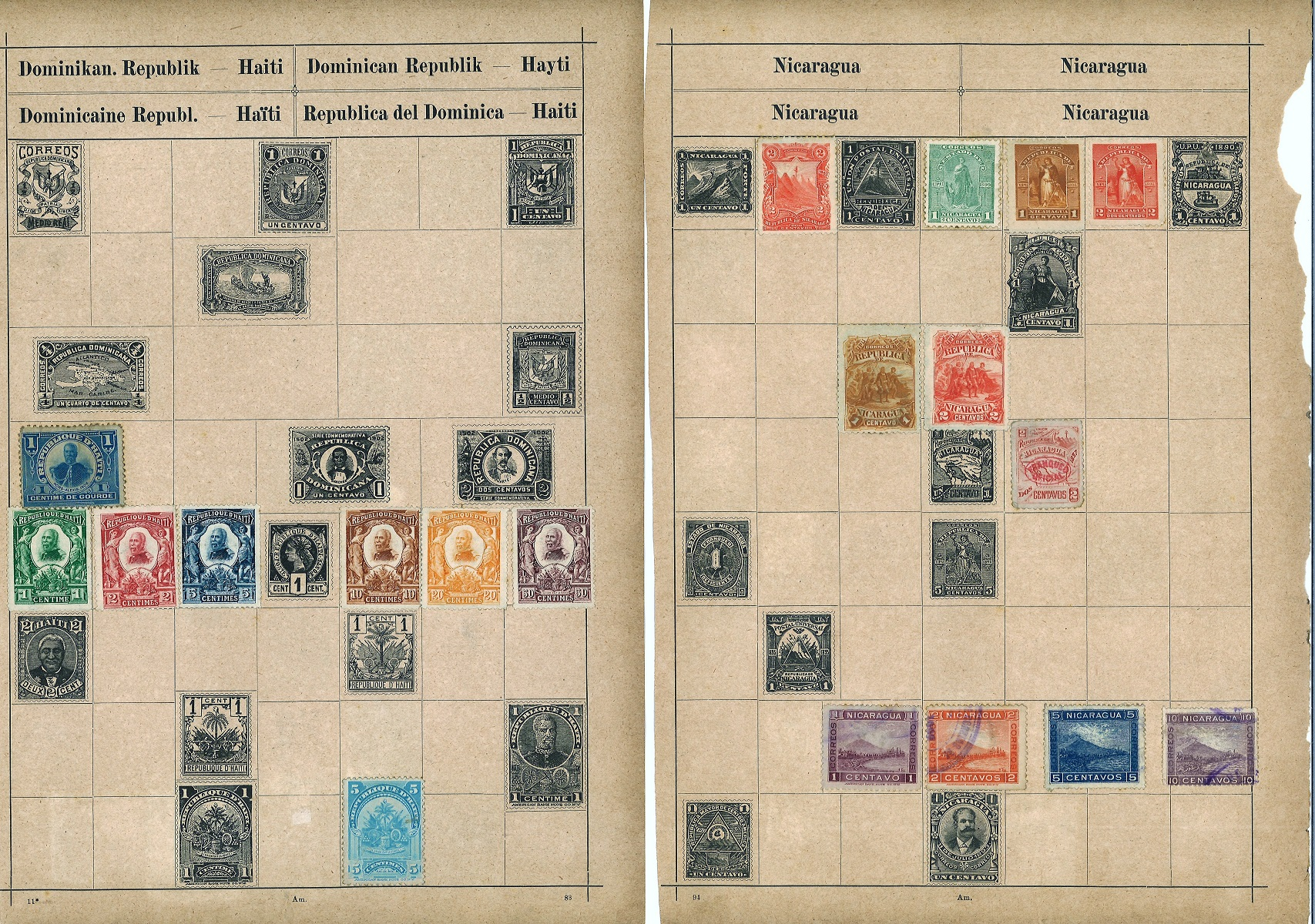 South America stamp collection 14 loose album pages countries include Argentina, Brazil, Colombia