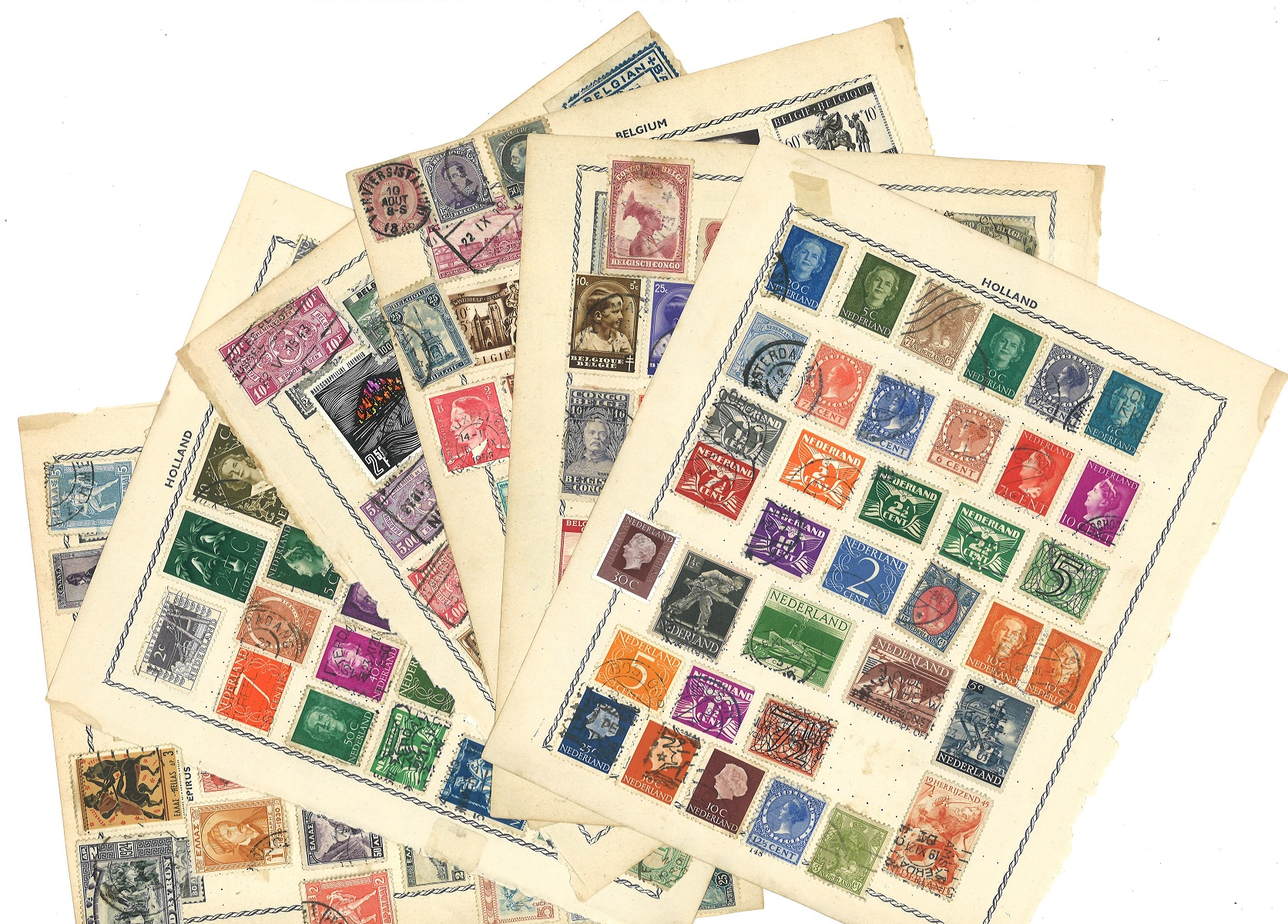 European stamp collection 9 loose album pages countries include Belgium, Holland and Greece. Good