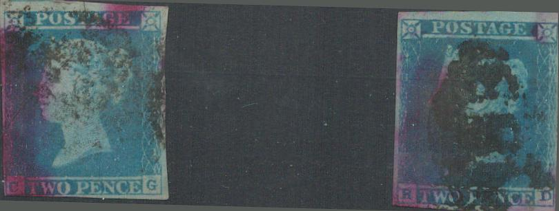 2 GB 2d blue imperf SG14 stamps on stockcard. Good condition. We combine postage on multiple winning