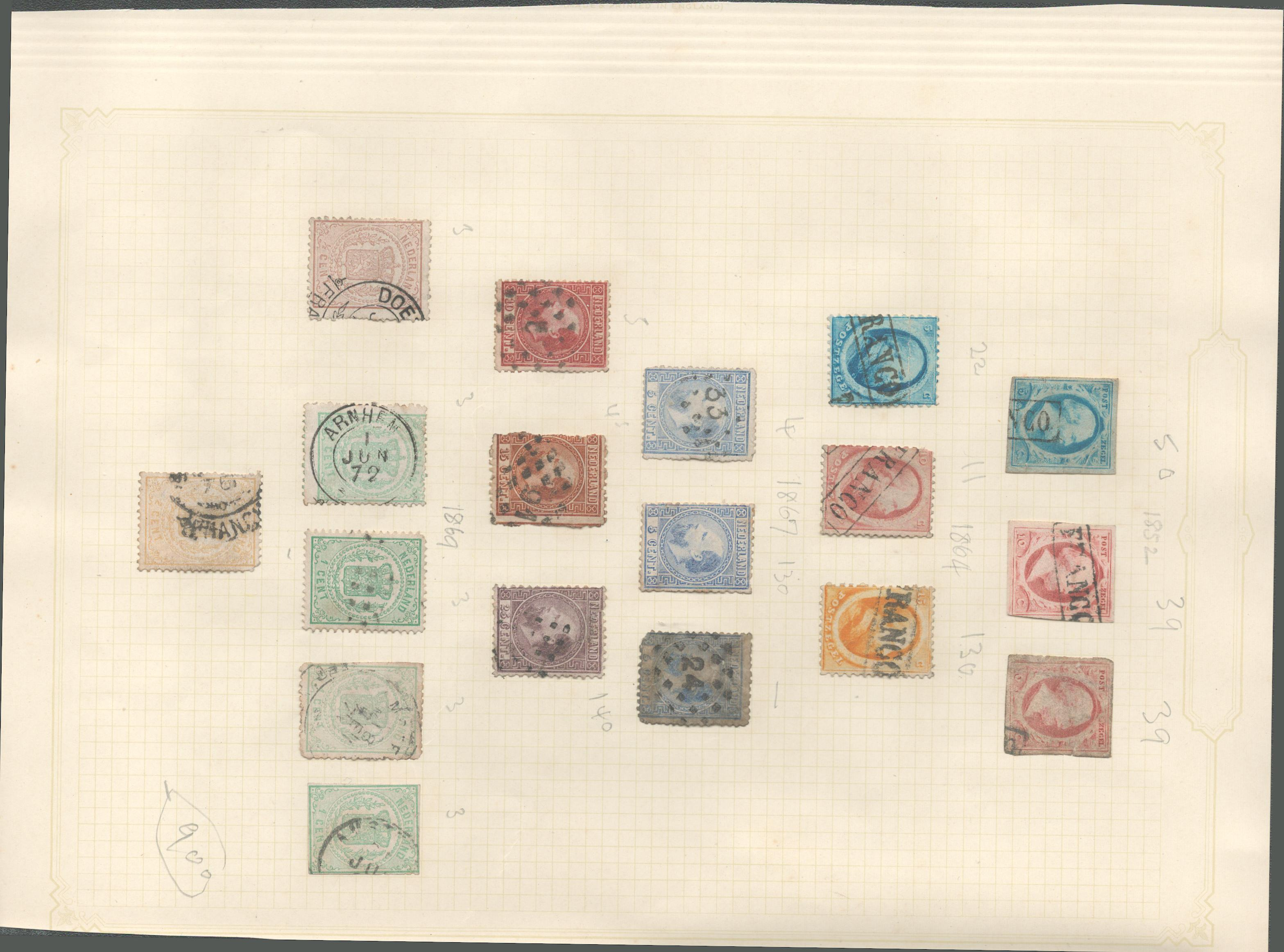 Dutch stamp collection on 1 loose album page. 18 stamps. 1852/1869. Cat value £900. Good