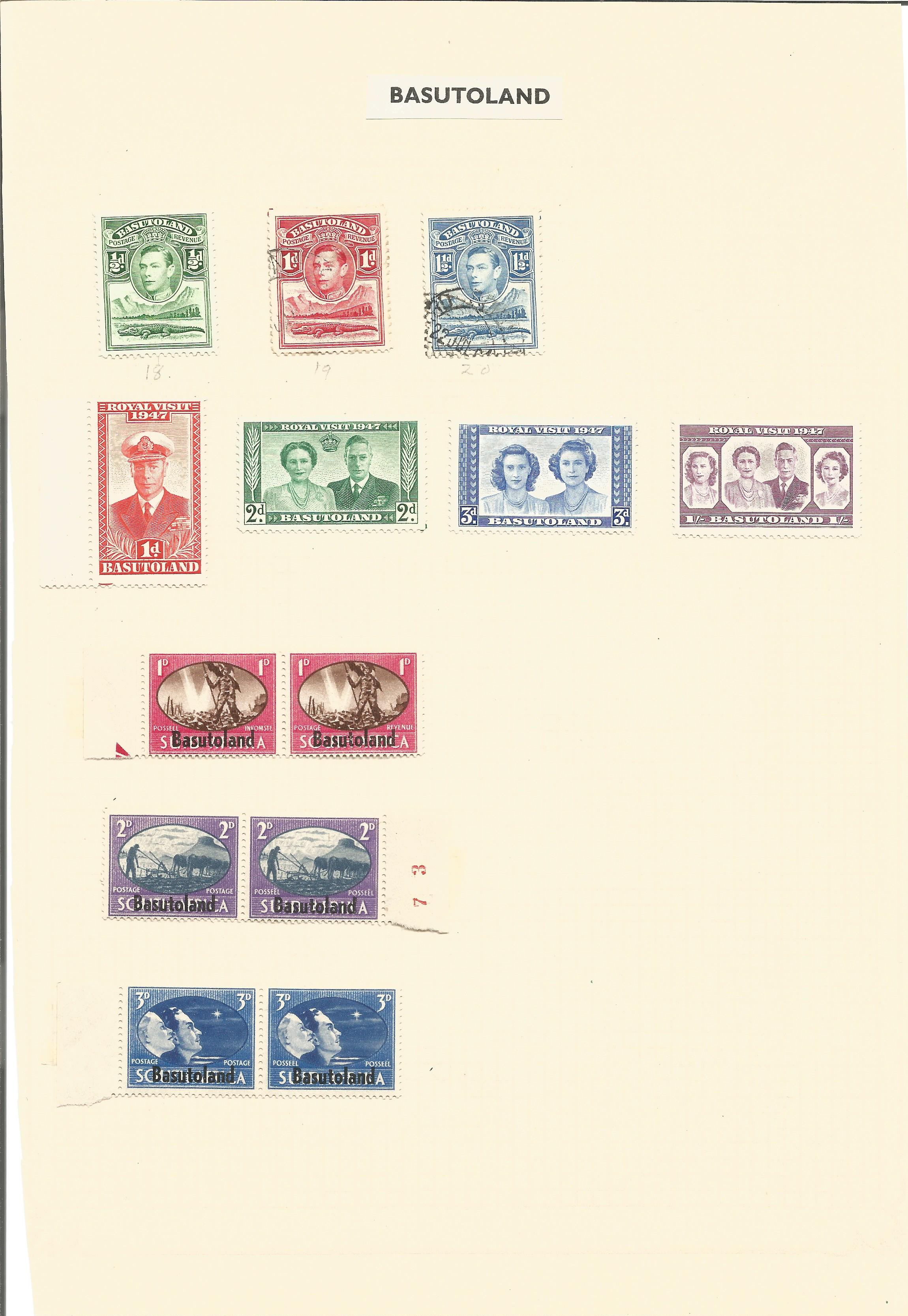 Bermuda and Basutoland stamp collection on 2 loose album pages. Good condition. We combine postage - Image 2 of 2