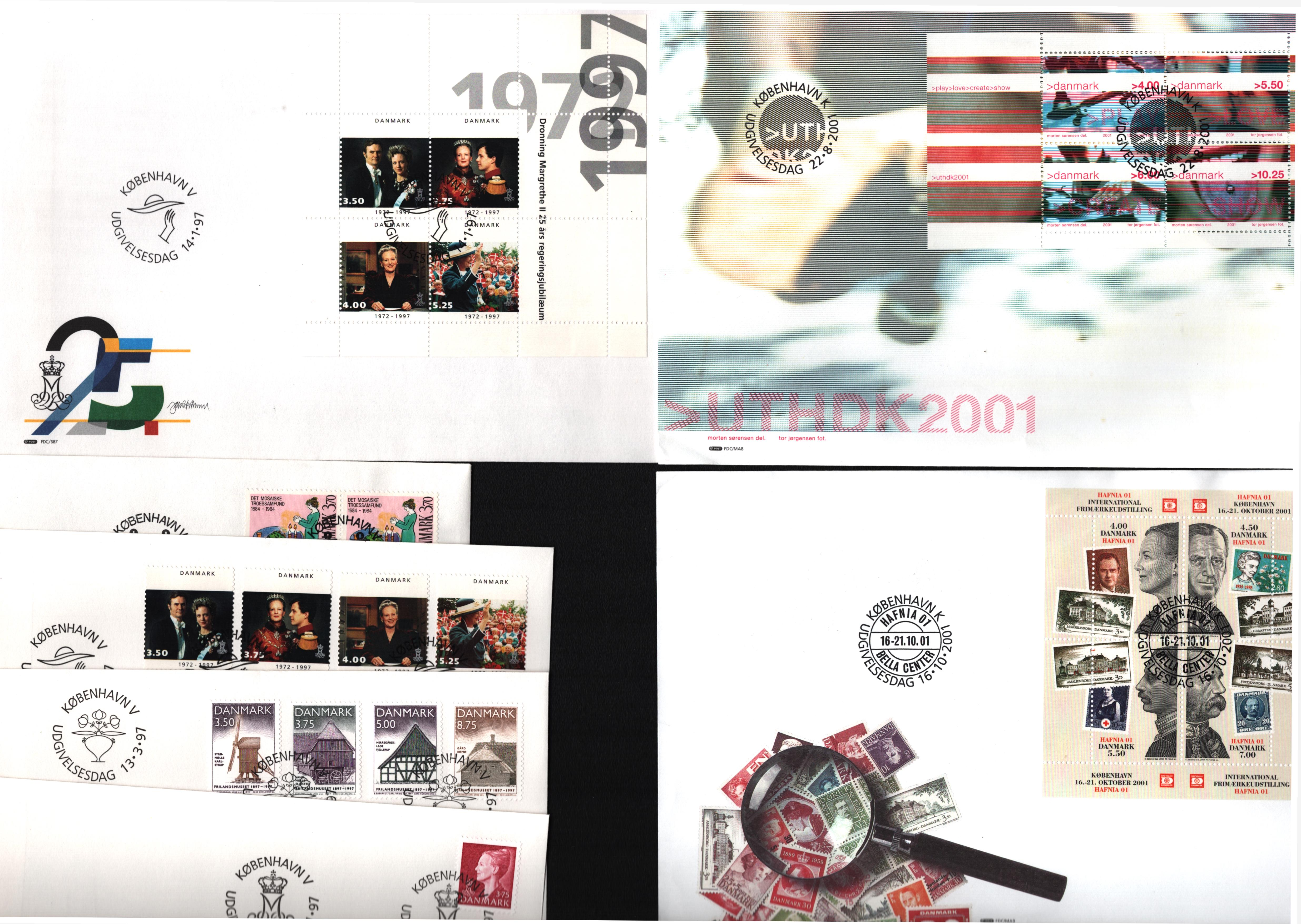 Danish collection. Includes 7 FDC's and unmounted mint stamps. Also, judicia cover. Good