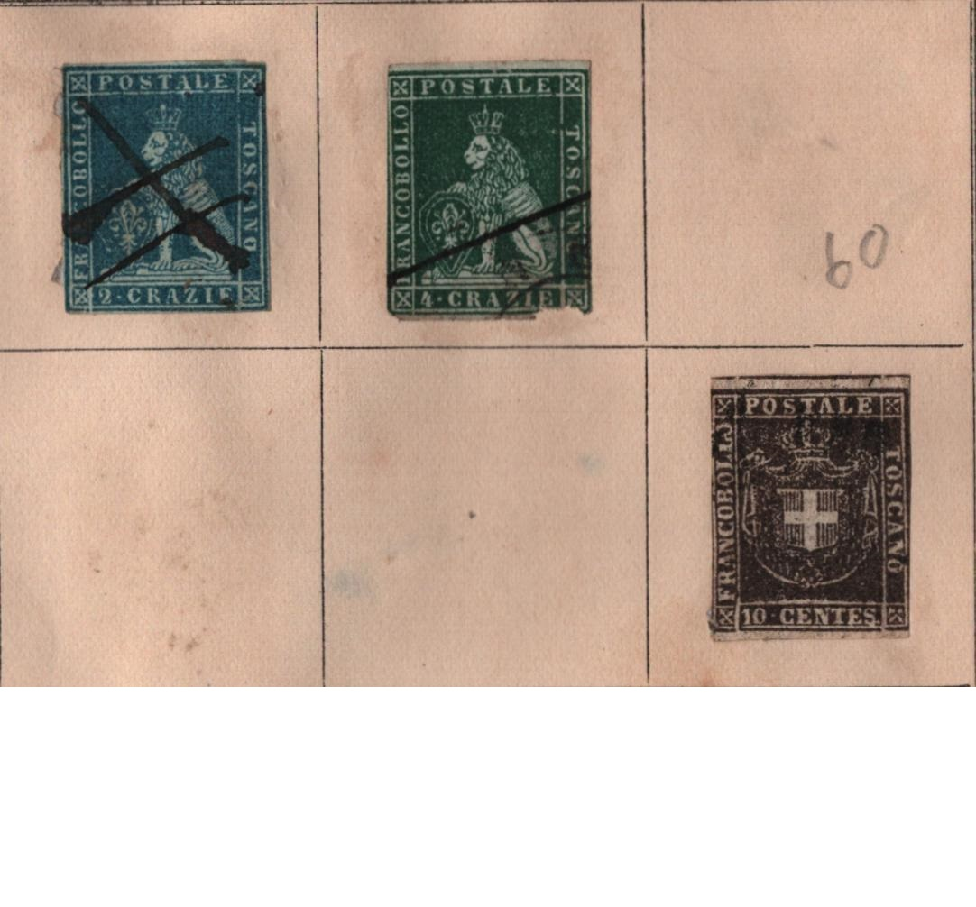 Tuscany and Wurttemberg stamp collection. 3 Tuscan stamps 1850/1860 and 9 Wurttemberg 1851/1869. - Image 2 of 2