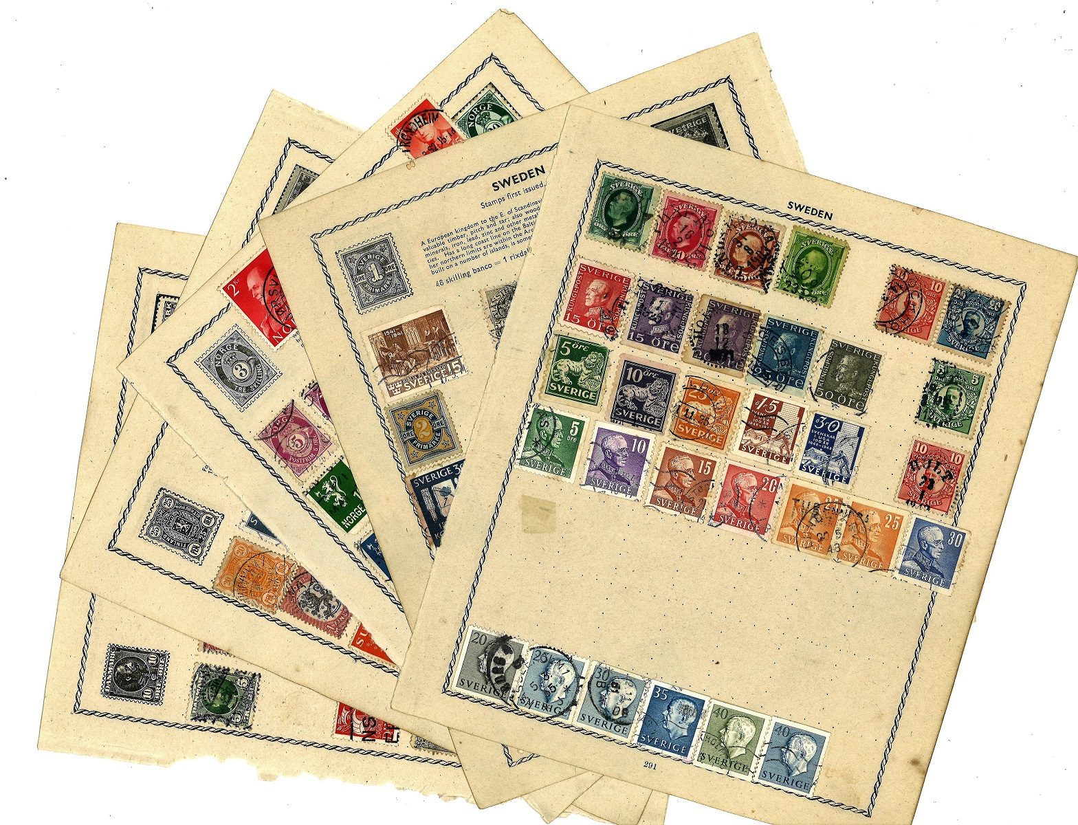 European stamp collection 8 loose album pages old stamps countries include Denmark, Finland,