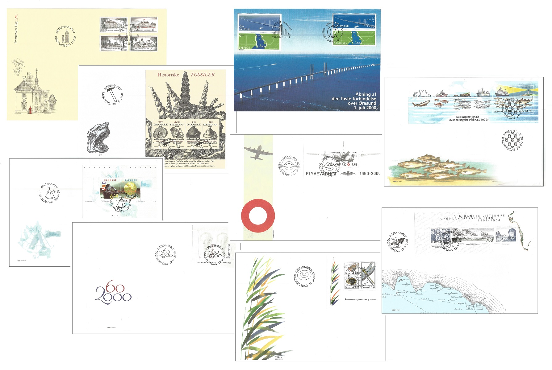 Danish FDC collection. 1994/200 mainly miniature sheets. 9 in total. Good condition. We combine