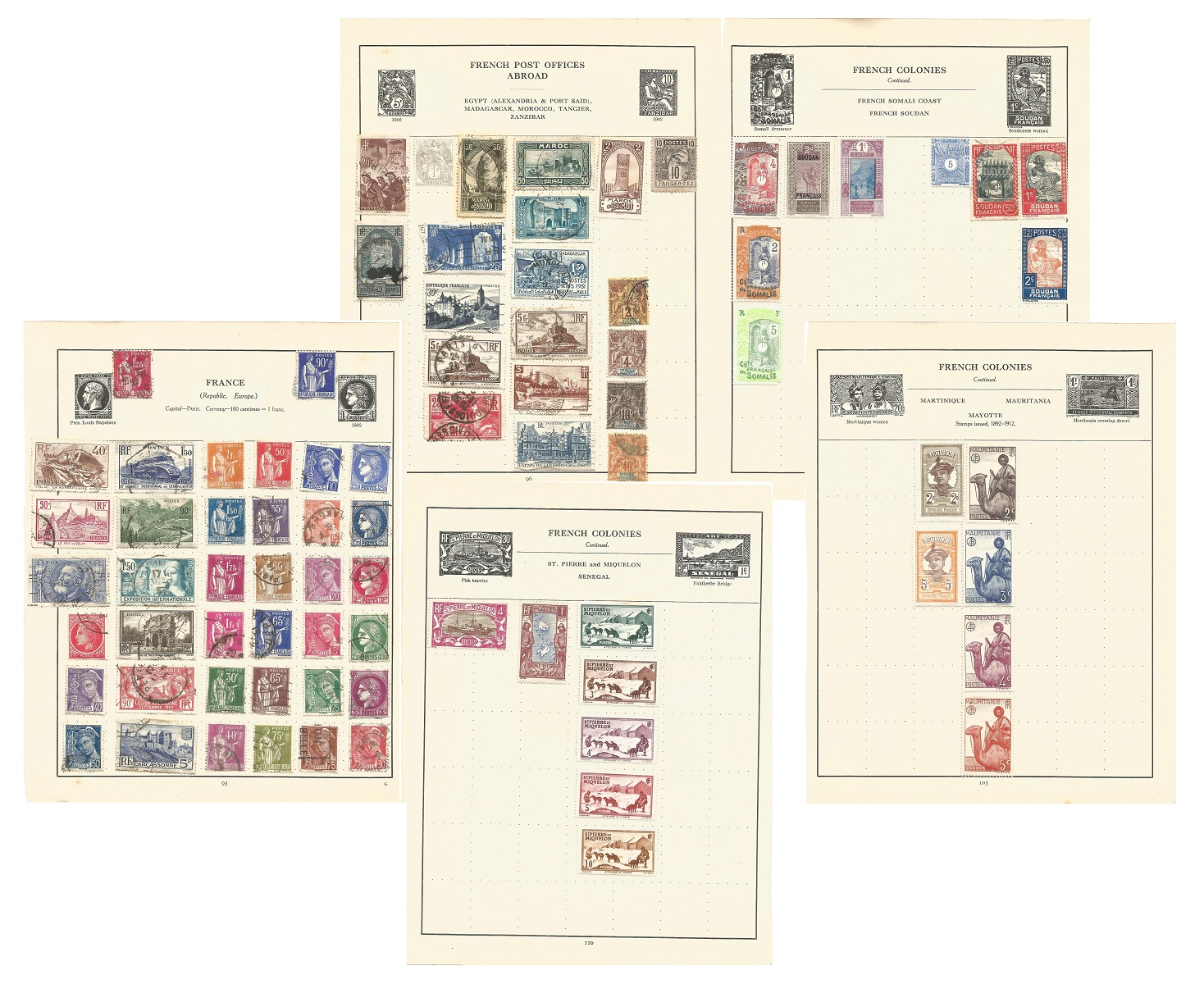 France and colonies stamp collection on 21 loose pages. Good condition. We combine postage on