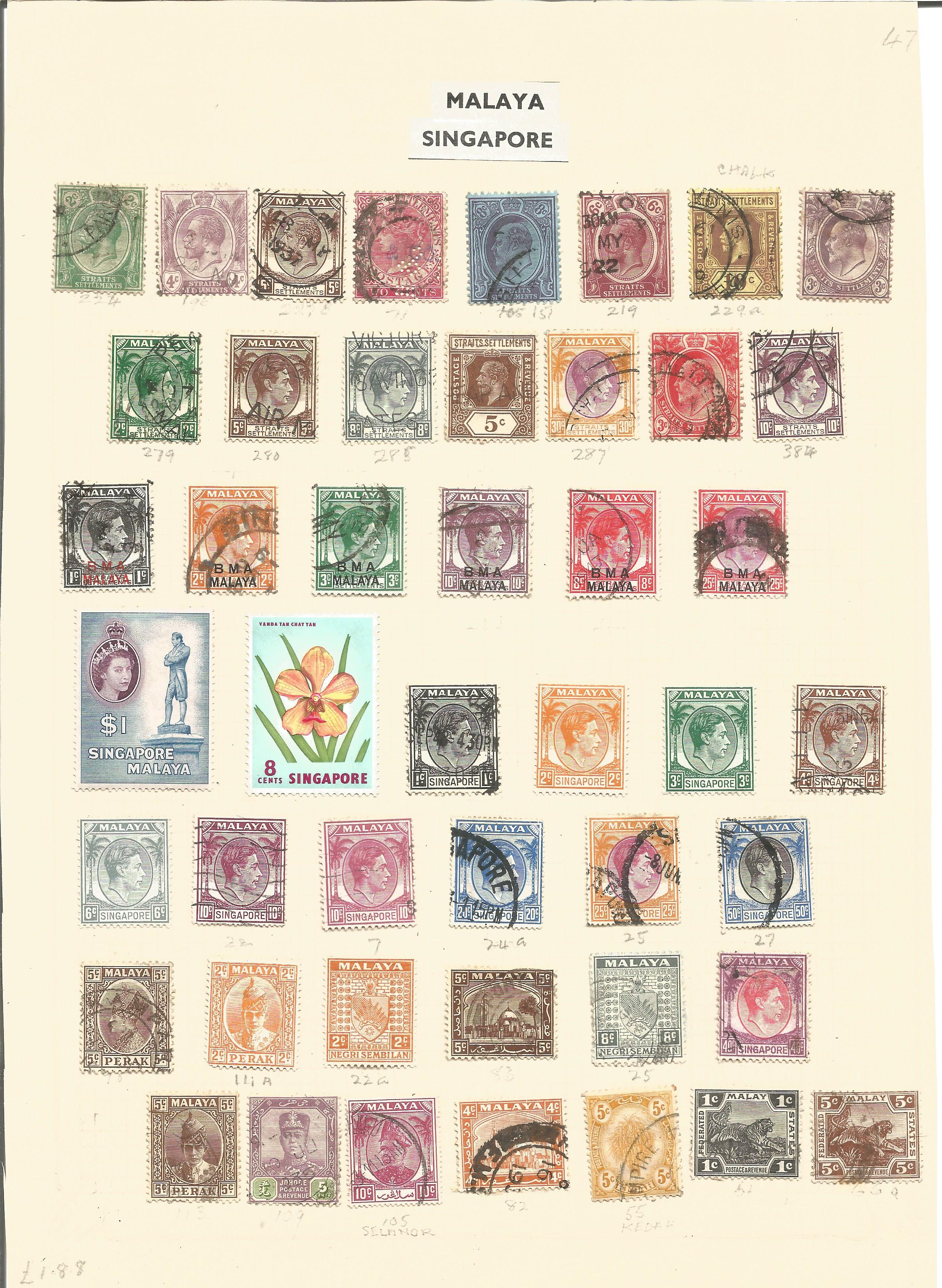 Straits settlements and Malaya and Singapore stamps on 1 loose album page. 46 stamps. Good