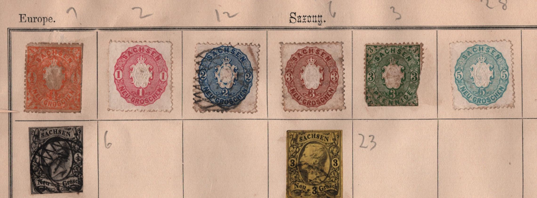 Saxony stamp collection on loose album page. 8 stamps. 1851/1863. Mint and used. Imp and perf. Cat