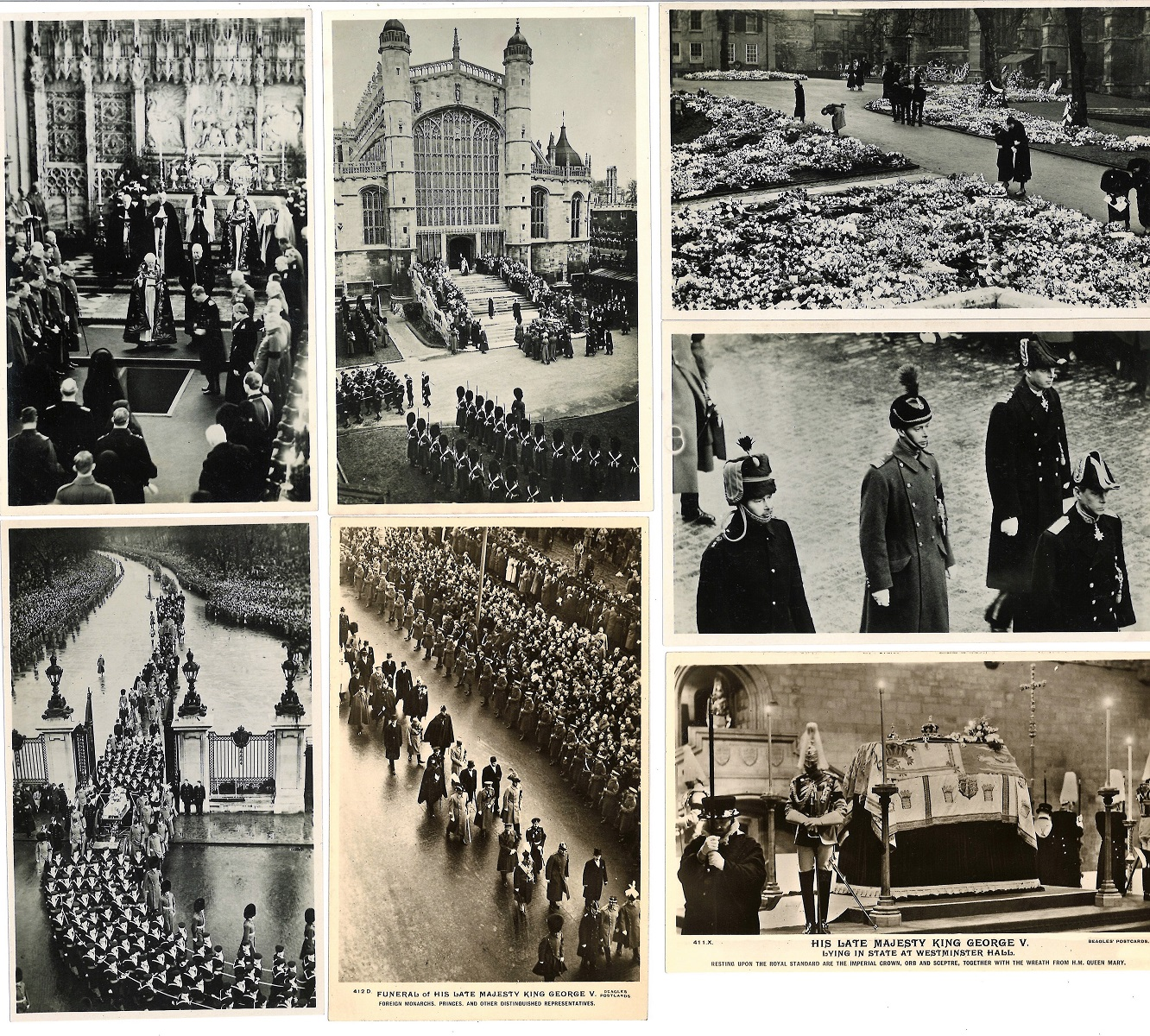 Vintage Postcard collection includes 7 items featuring funeral of King George V dated 2/1/1936. Good