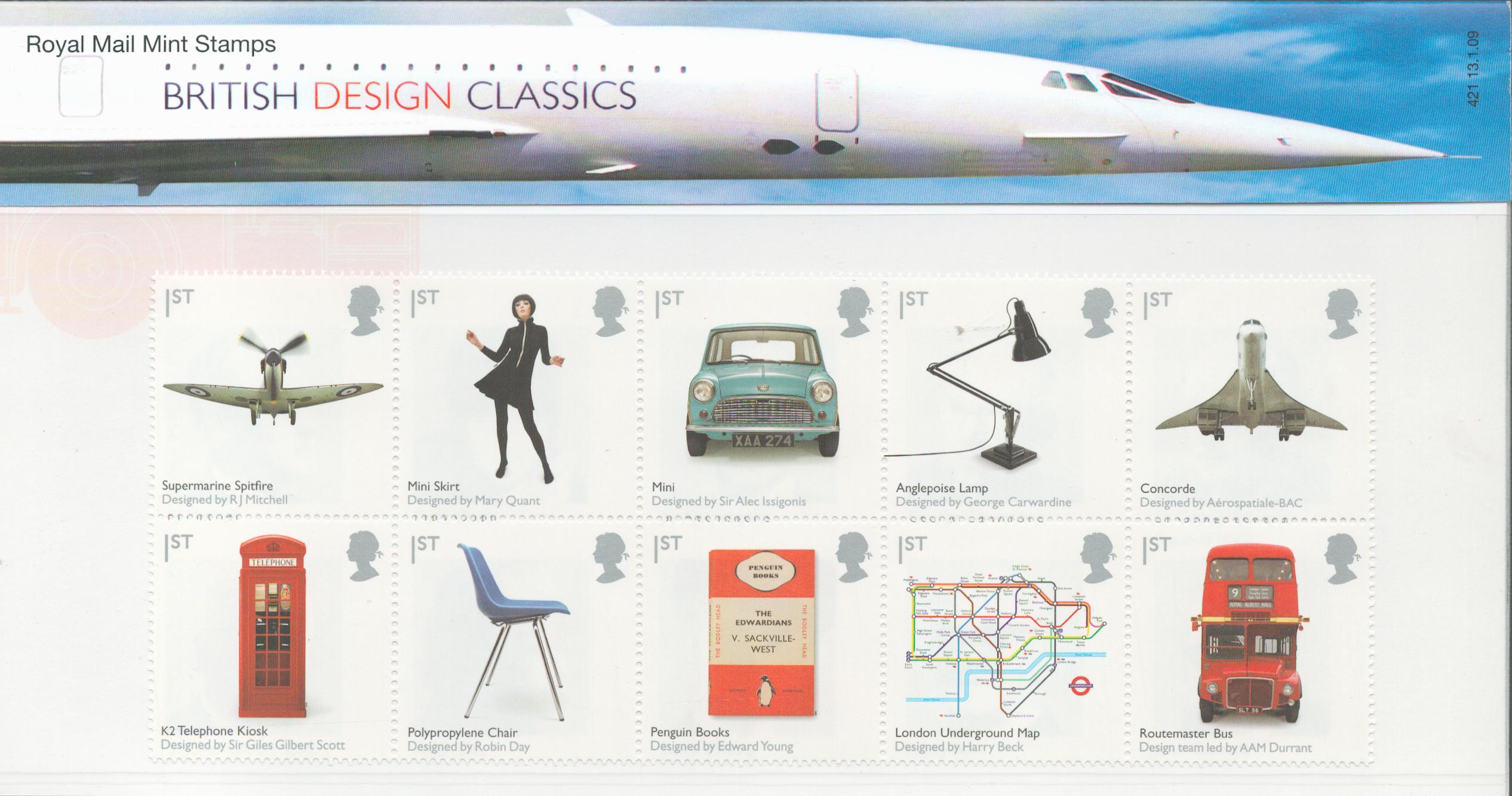 GB presentation pack 13/1/2009 British design classics. 10 1st class stamps. Good condition. We