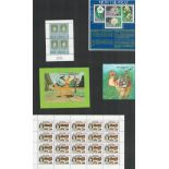 Miniature sheets/sheets of stamps. 7 in total. Includes Eire, Tanzania, Maldives, Papua New