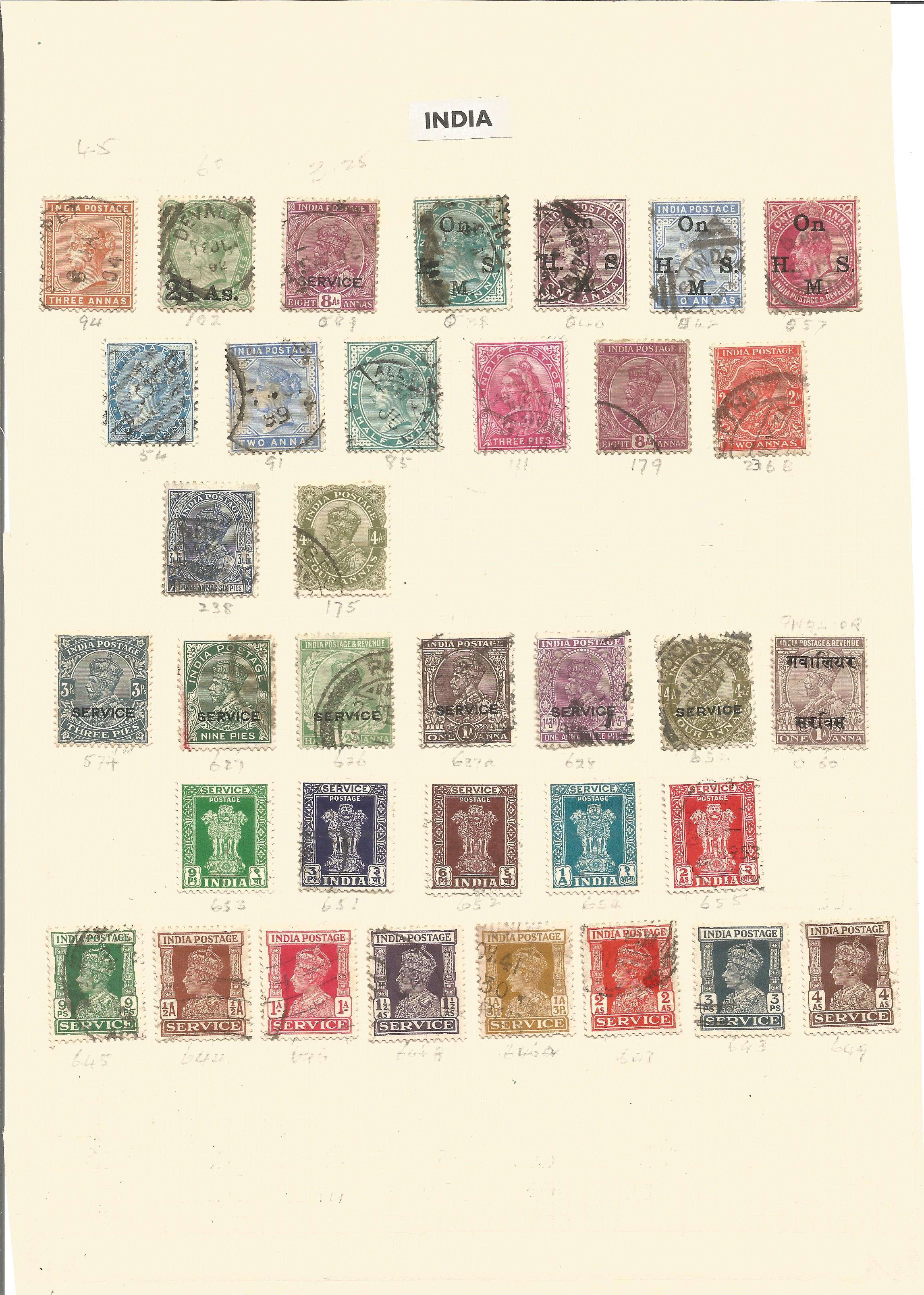 India stamp collection on 4 loose pages. Good condition. We combine postage on multiple winning lots