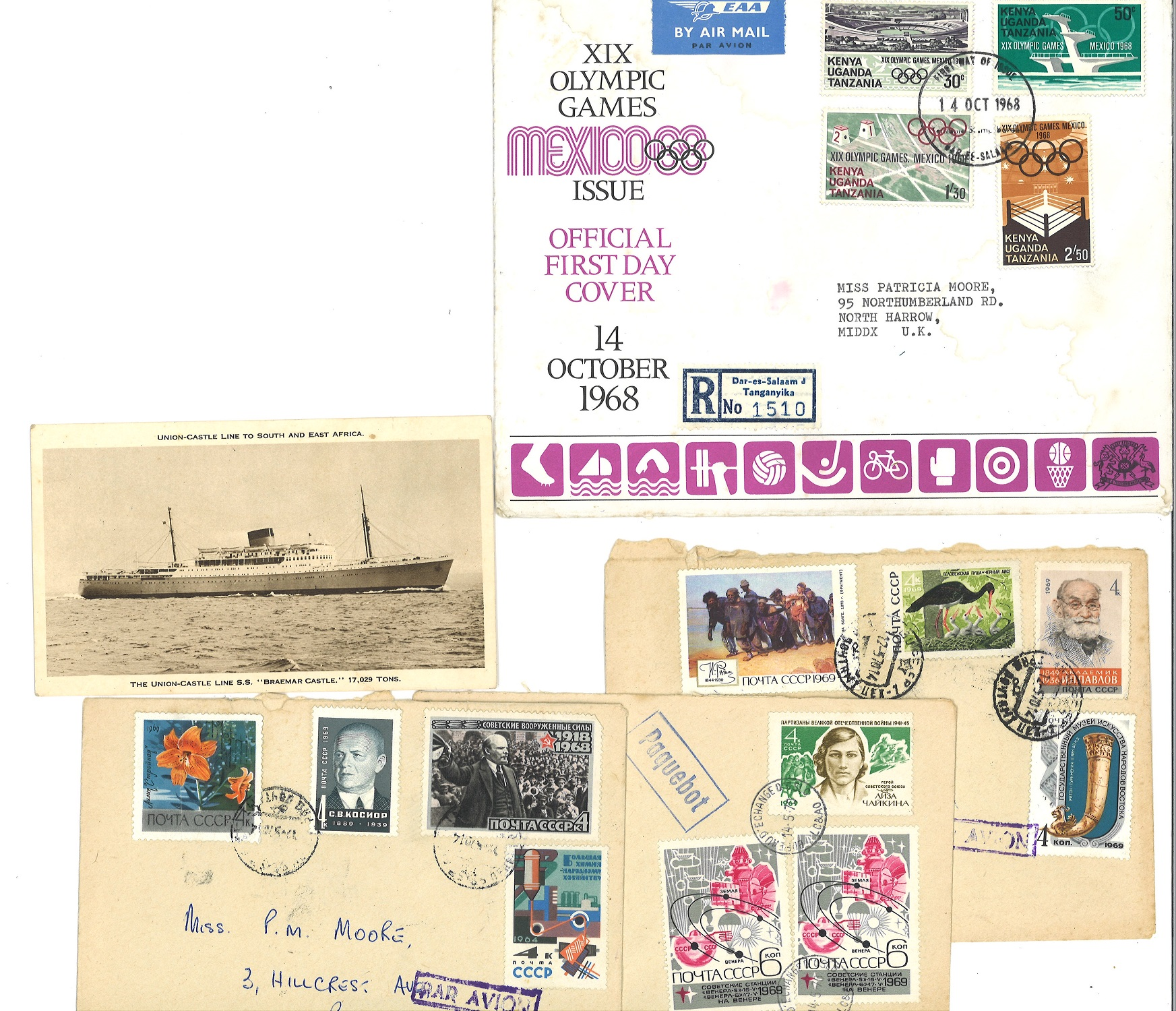 Vintage Post Collection Includes cover Zanzibar stamp 1960s, The Union Castle Line S. S Braemar