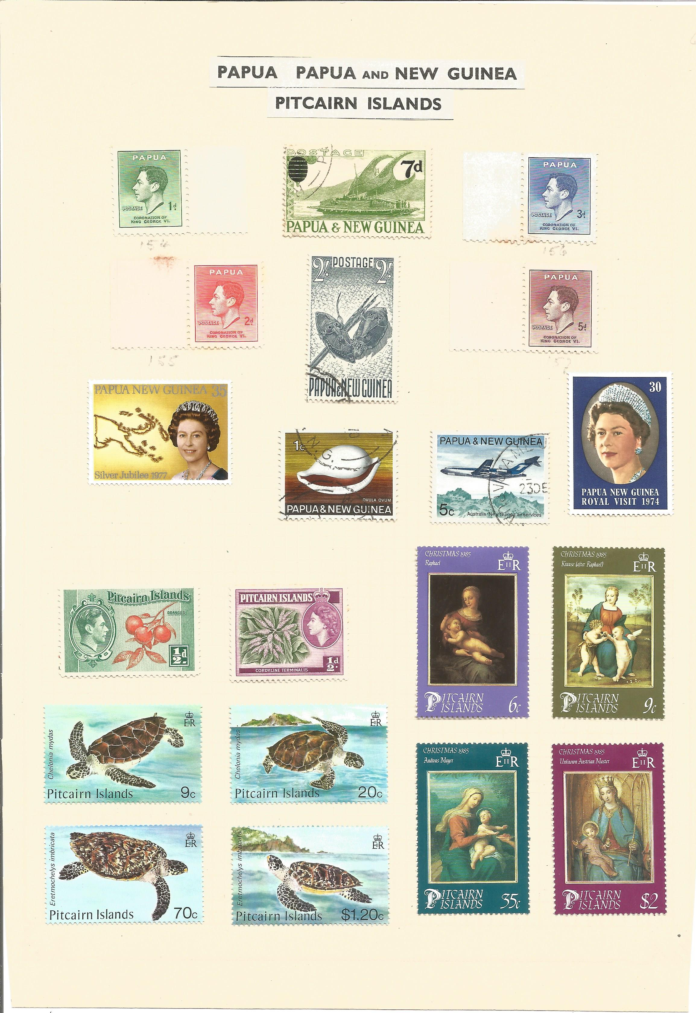 1 loose page of stamps from Papua and New Guinea Pitcairn Islands. 20 stamps. Good condition. We