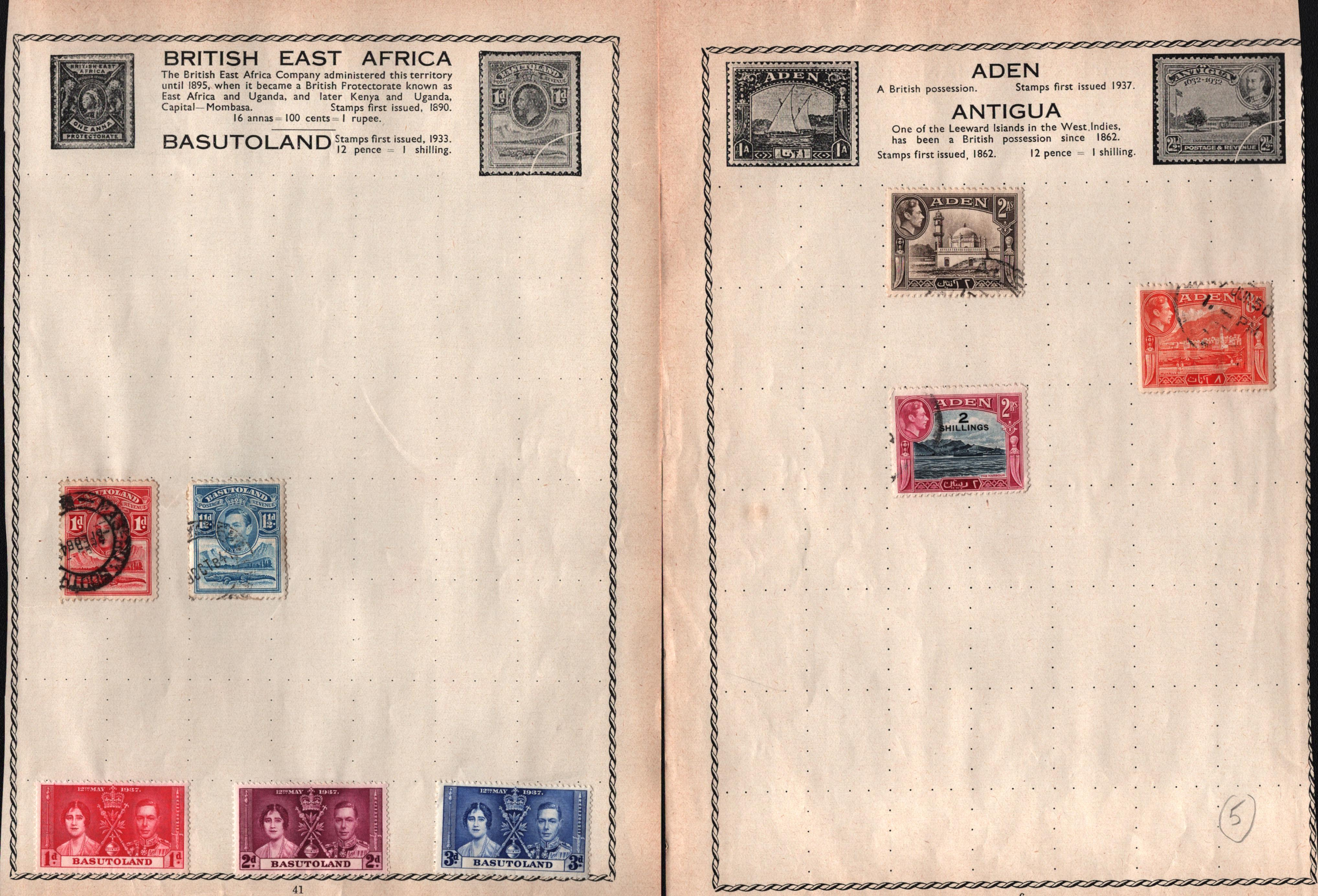 13 loose album pages of BCW stamps. Includes Basutoland, St Helena, Cyprus and more. Good condition.