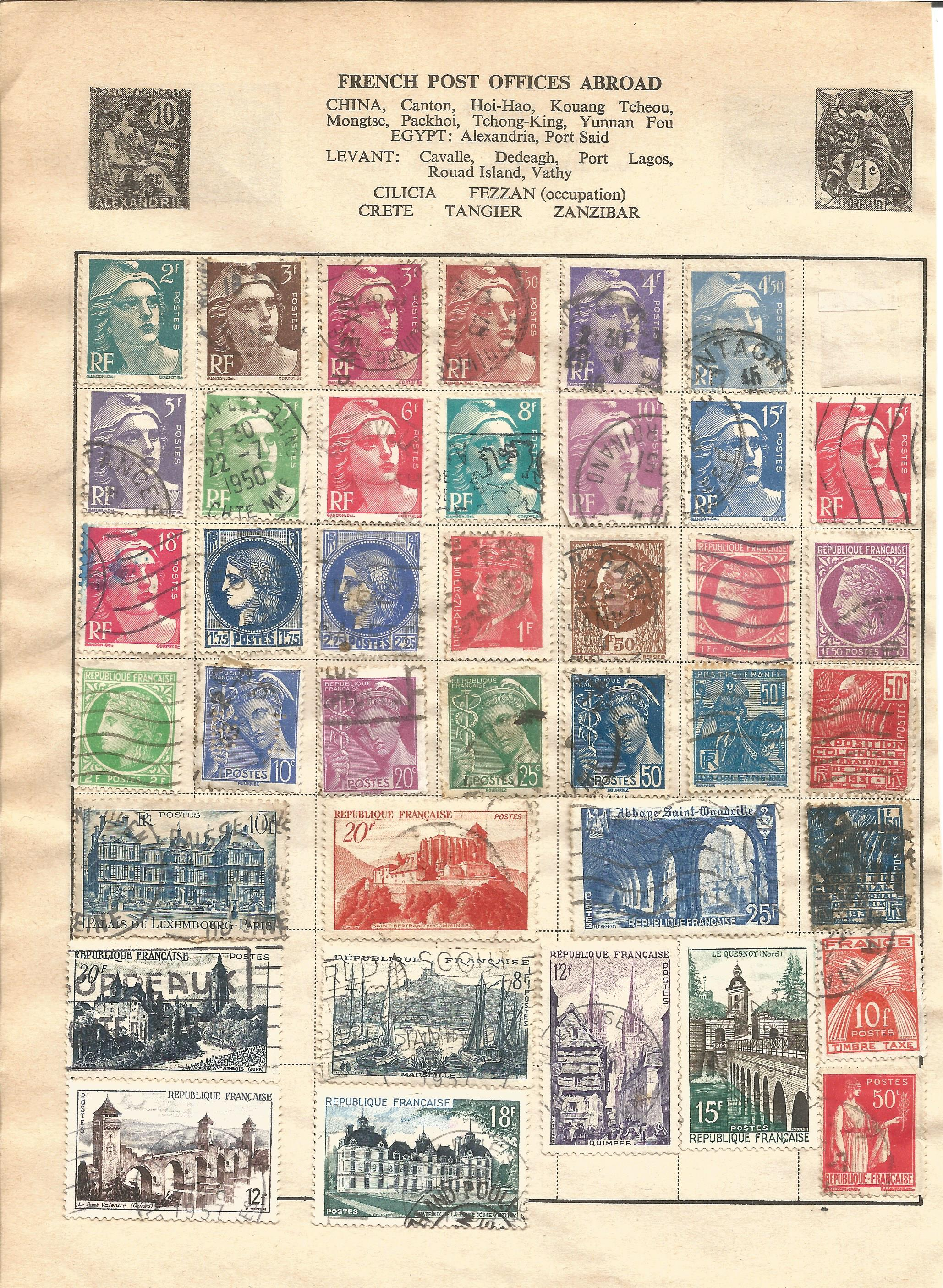 European stamp collection on 11 loose pages. Covers Germany and France and Colonies. Good condition.