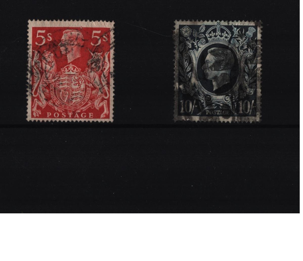 1939 SG 477 5/= and SG478a 10/= stamps. Good condition. We combine postage on multiple winning