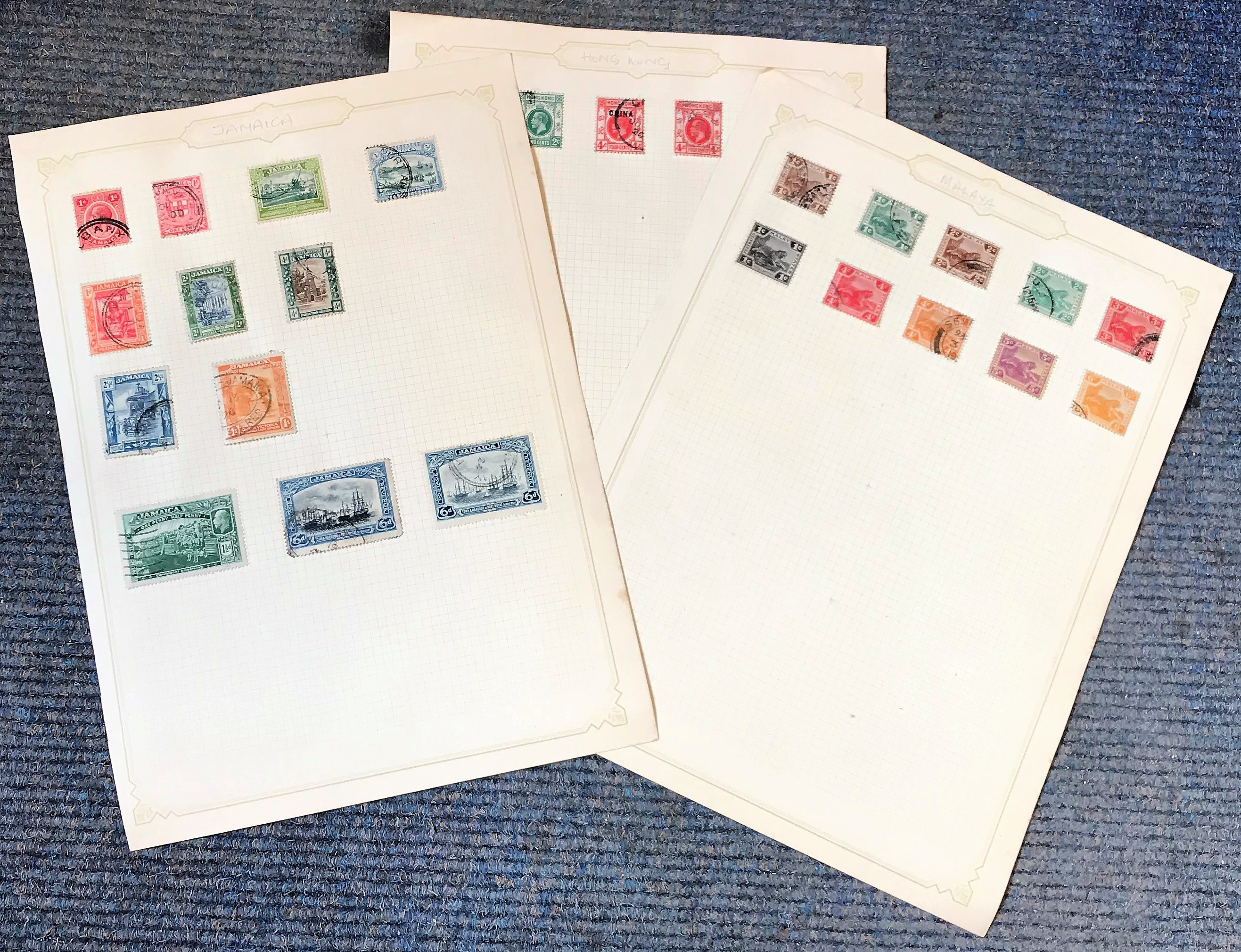 British Commonwealth collection on 3 loose album sheets early material countries include Hong