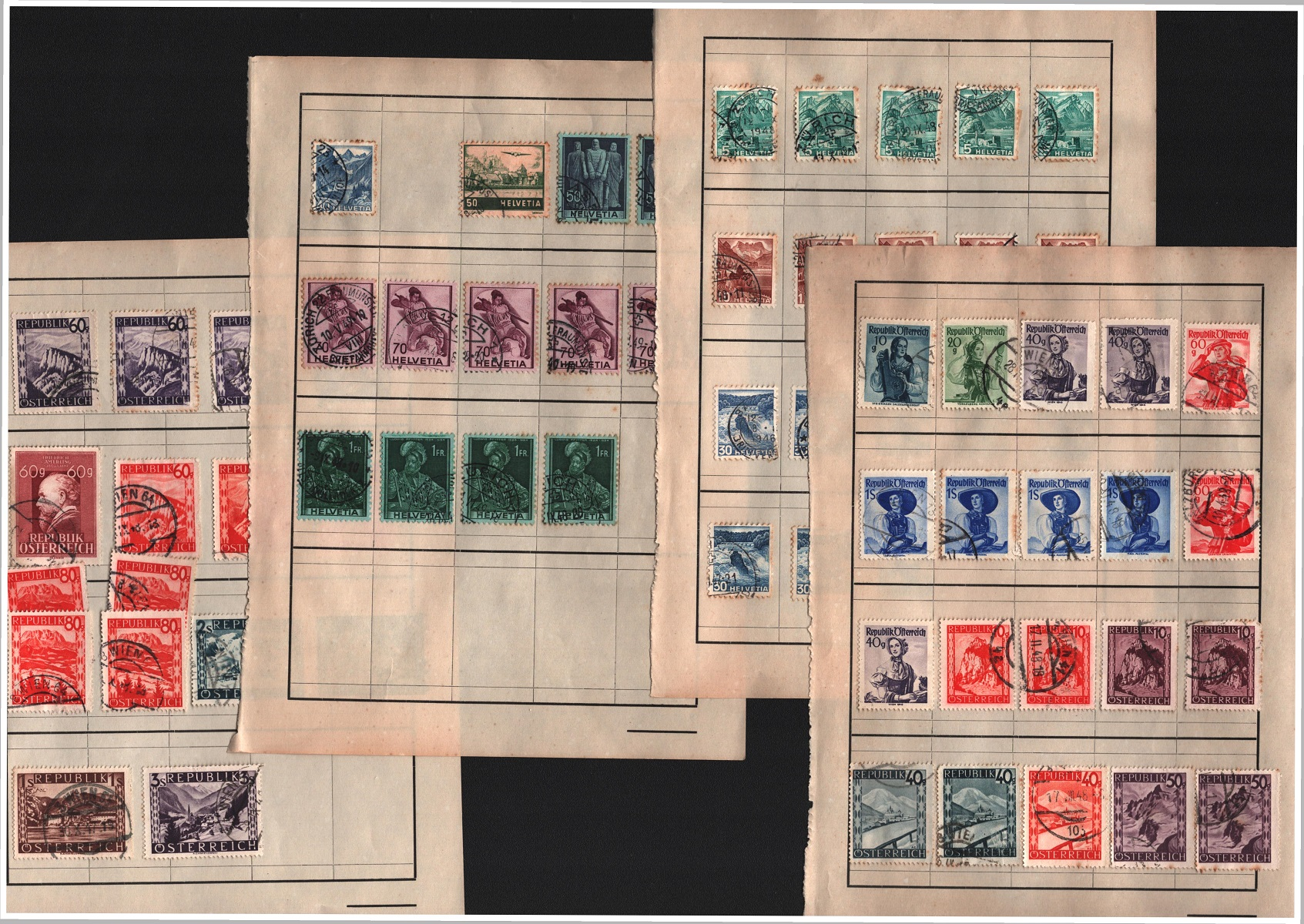 Stamp collection on 5 loose pages. Includes Austria, Switzerland and Germany. Also includes loose