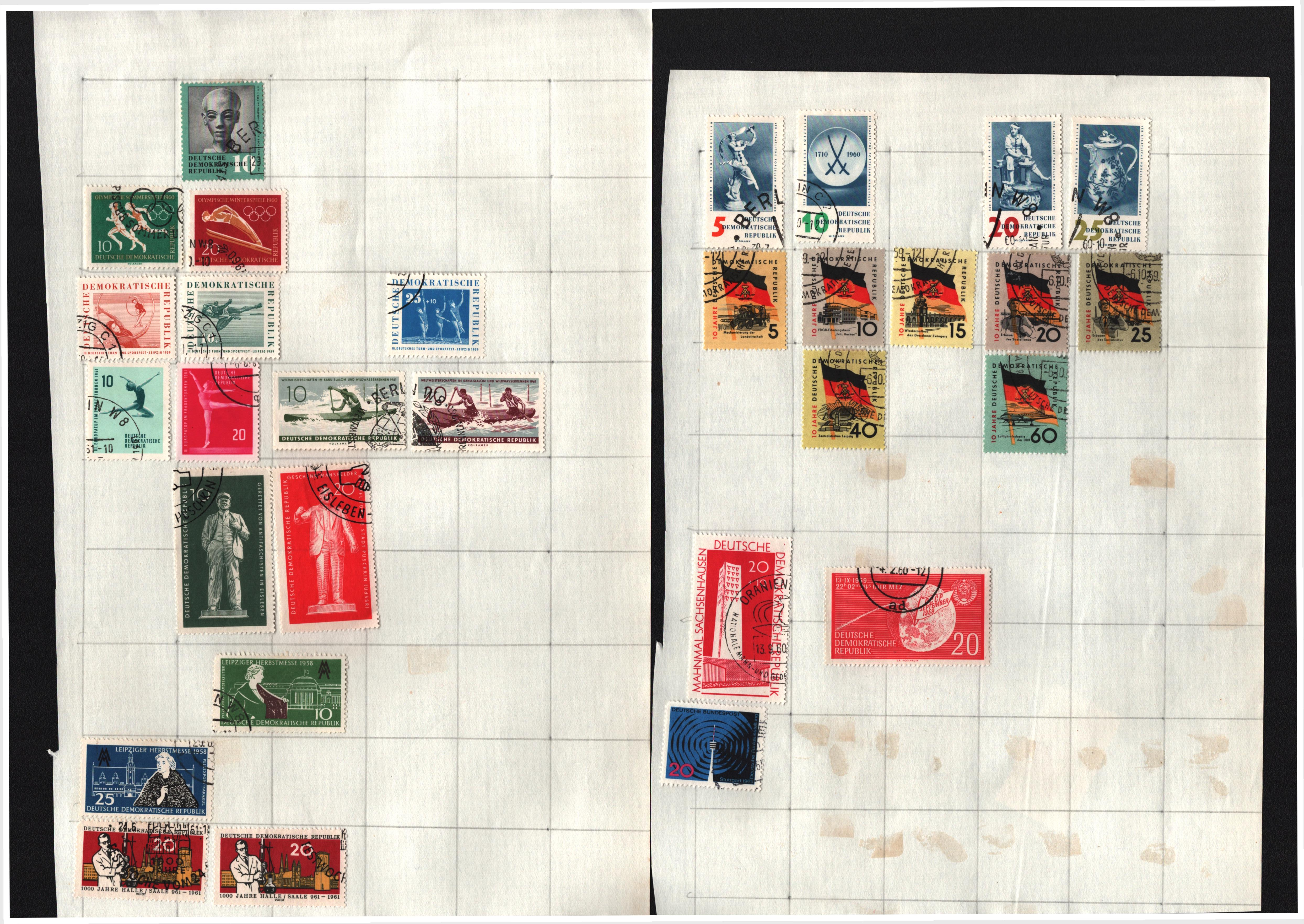 World stamp collection on 22 loose pages. Includes East Germany, Thailand, Morocco, United Nations