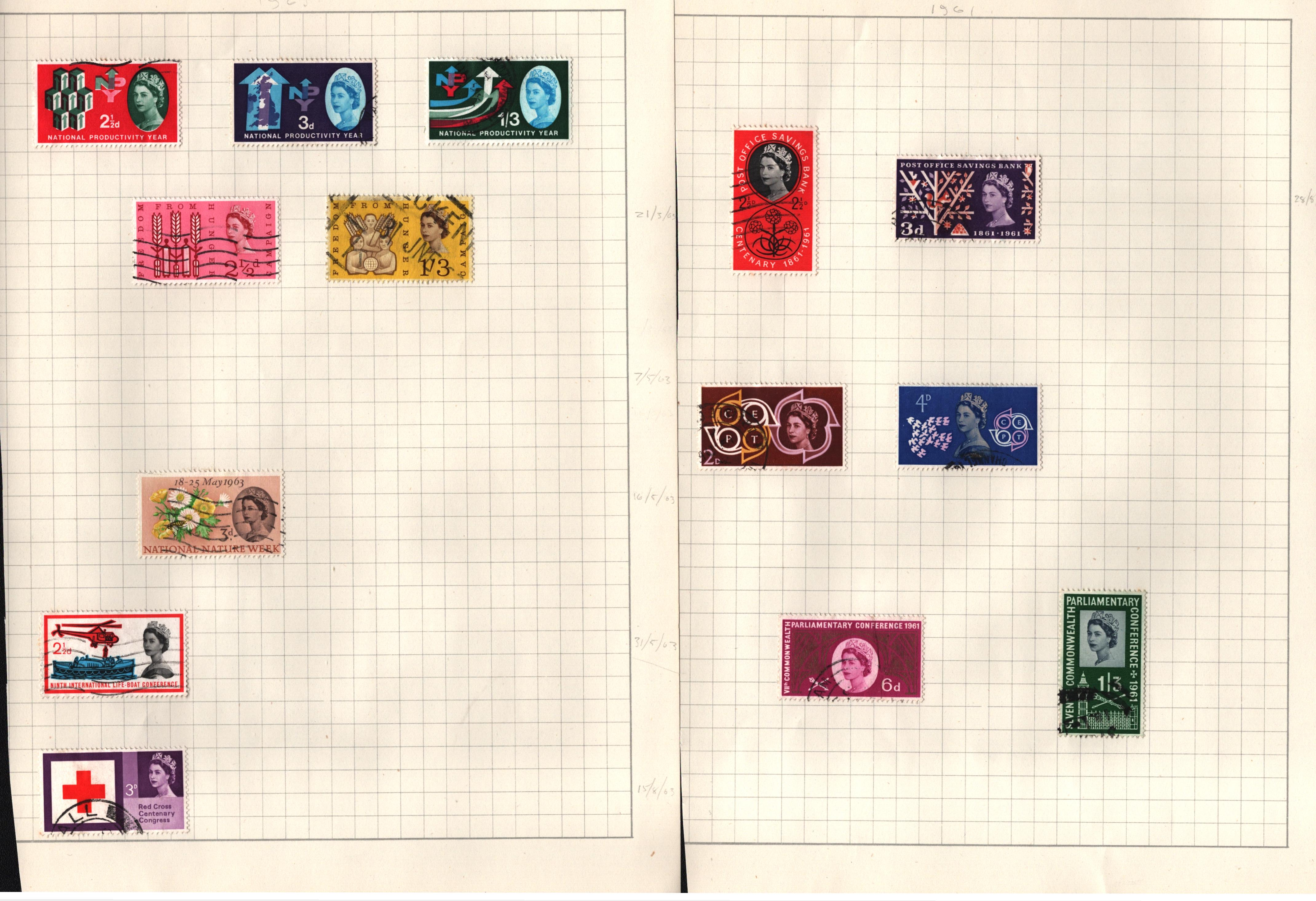 GB stamp collection on 13 pages. Includes QEII early Definitives, commemoratives and regionals. Good - Image 2 of 2