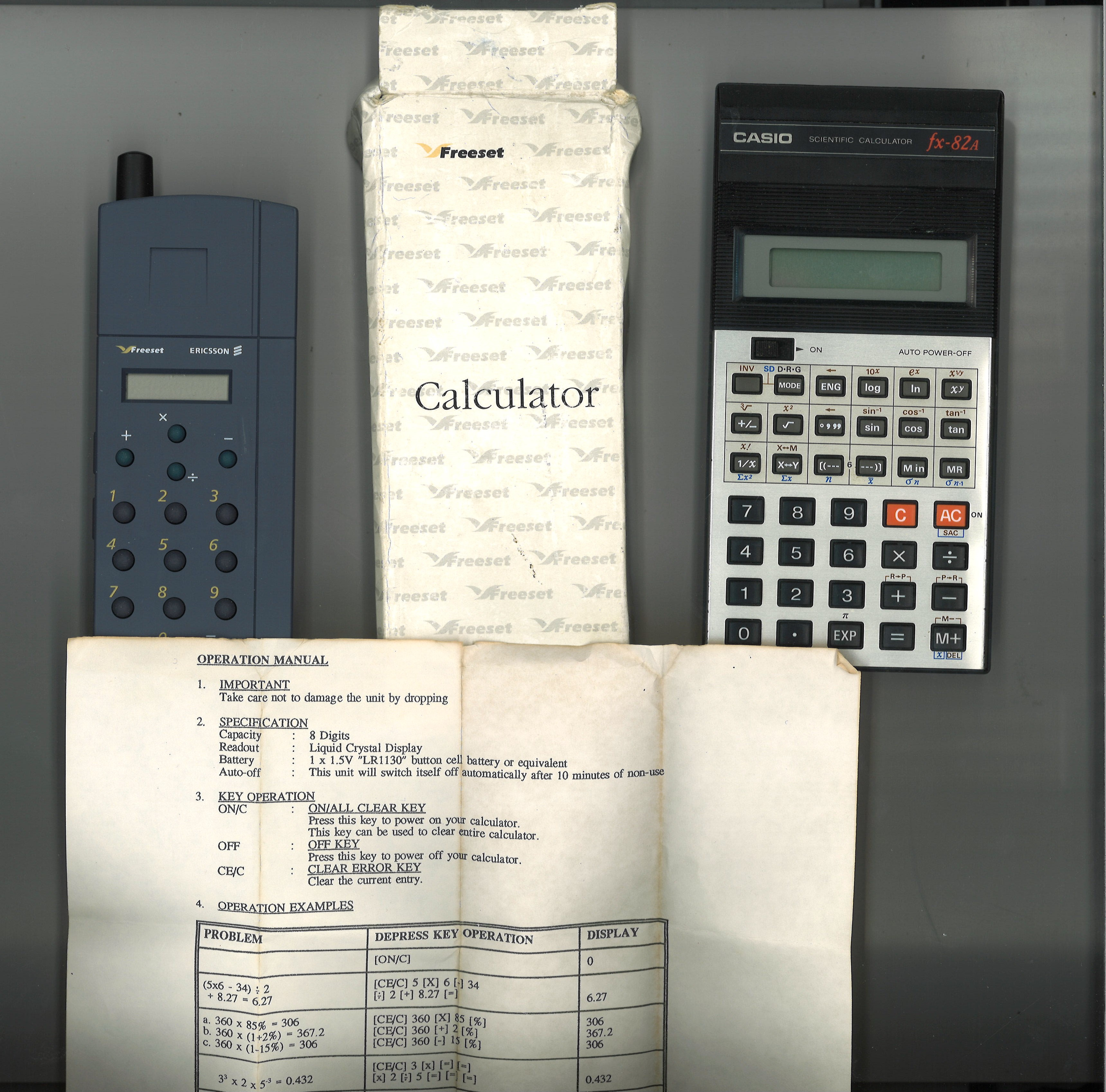 Vintage calculators collection includes 1 Casio and 1 Ericsson. Good condition. We combine postage