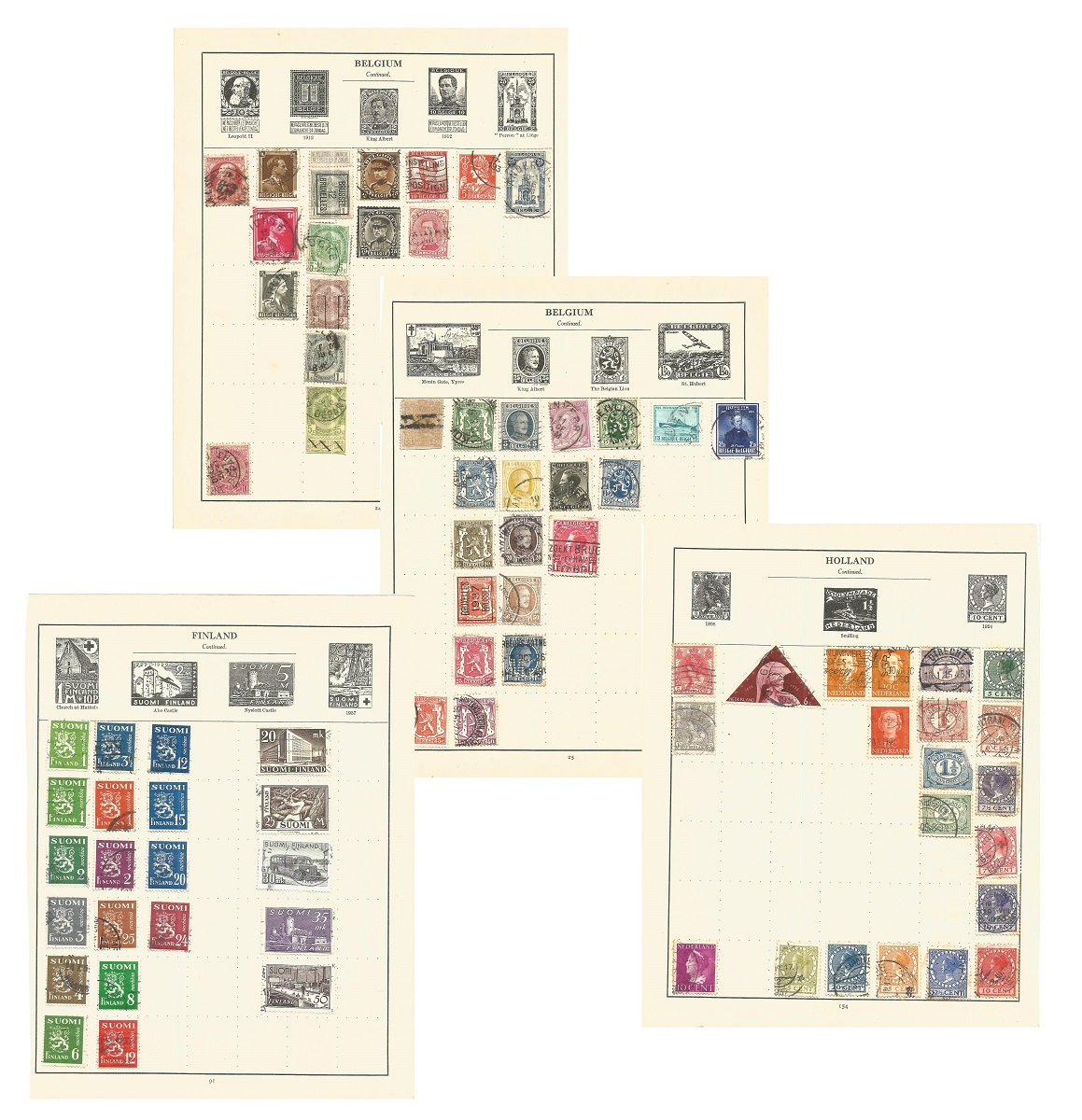European stamp collection on 18 loose pages. Includes Belgium, Holland and colonies, Norway,