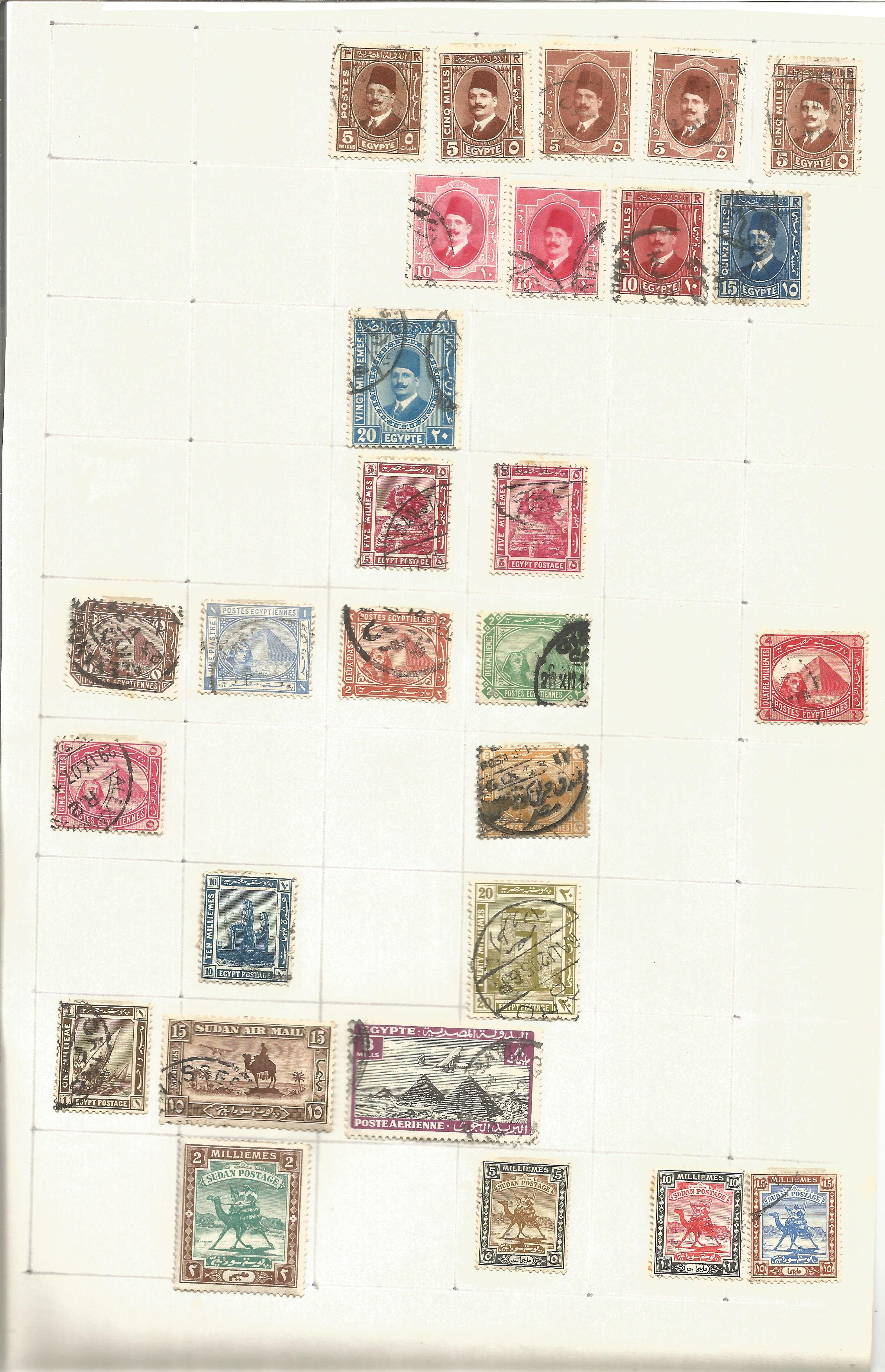 Egypt stamp collection on 3 loose pages. Good condition. We combine postage on multiple winning lots