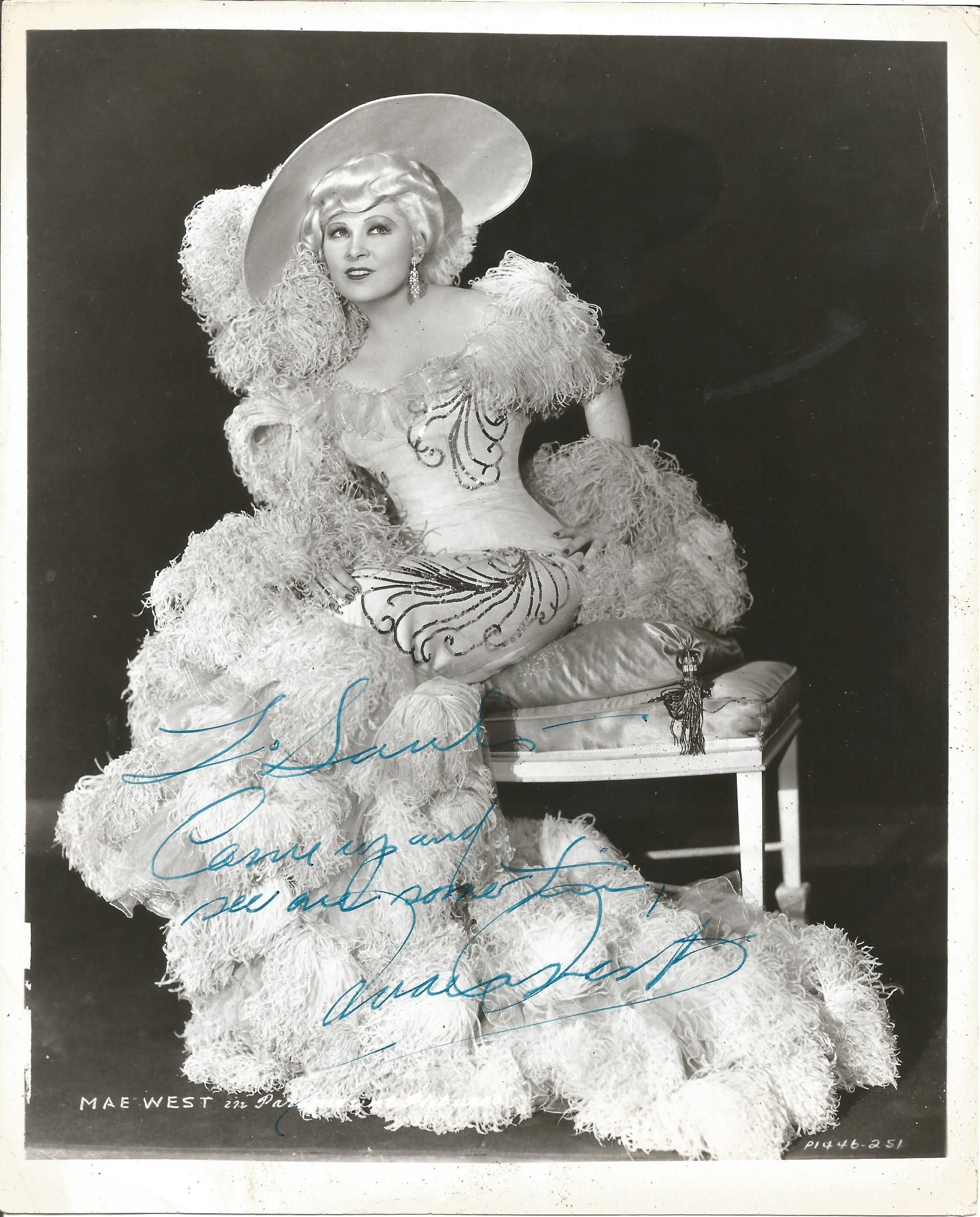 Mae West signed 10x8 black and white vintage photo. Mary Jane Mae West (August 17, 1893 - November
