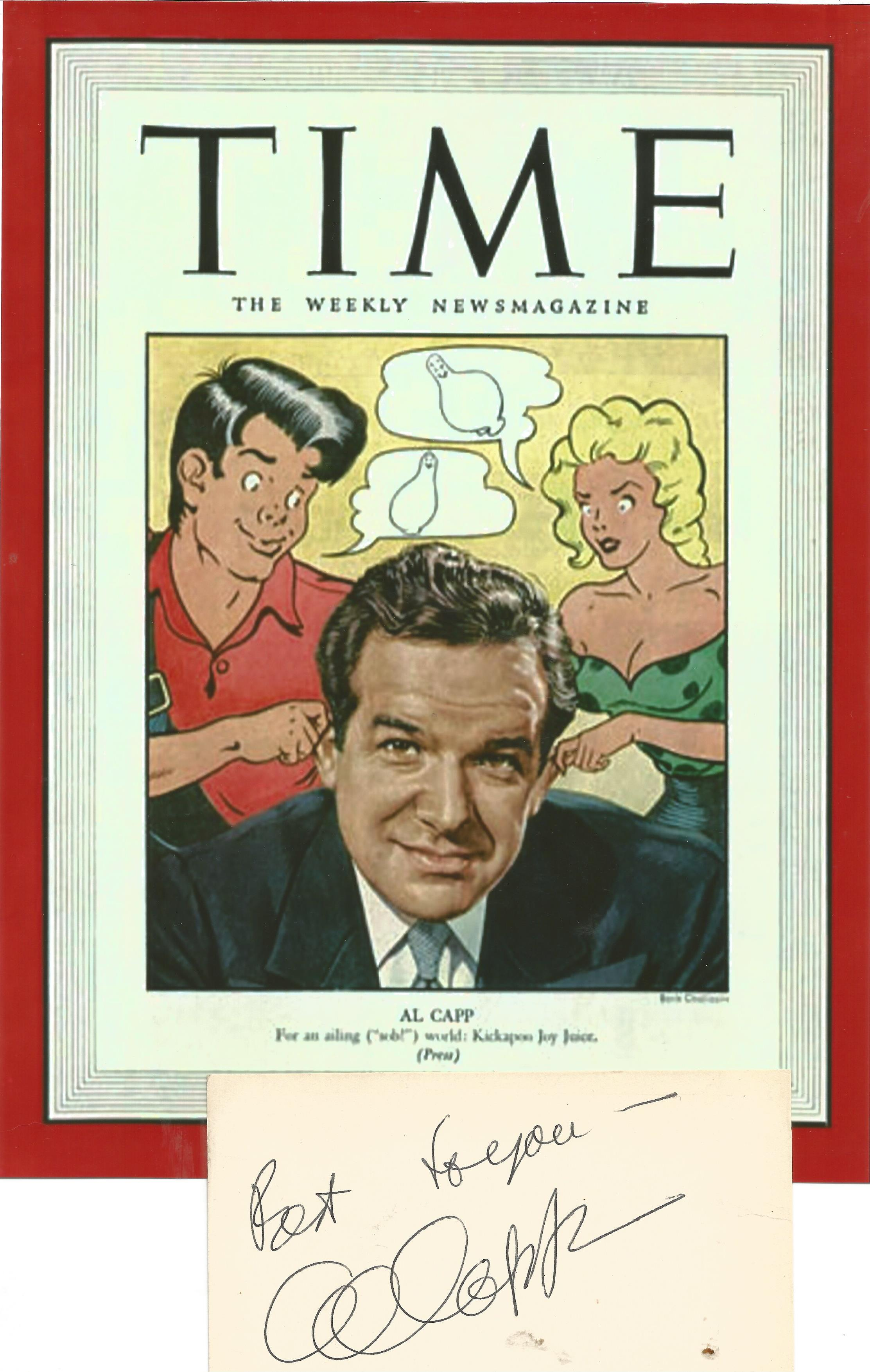 Al Capp signature piece includes signed 5x3 card and Time Weekly Magazine 10x8 promo photo. Alfred