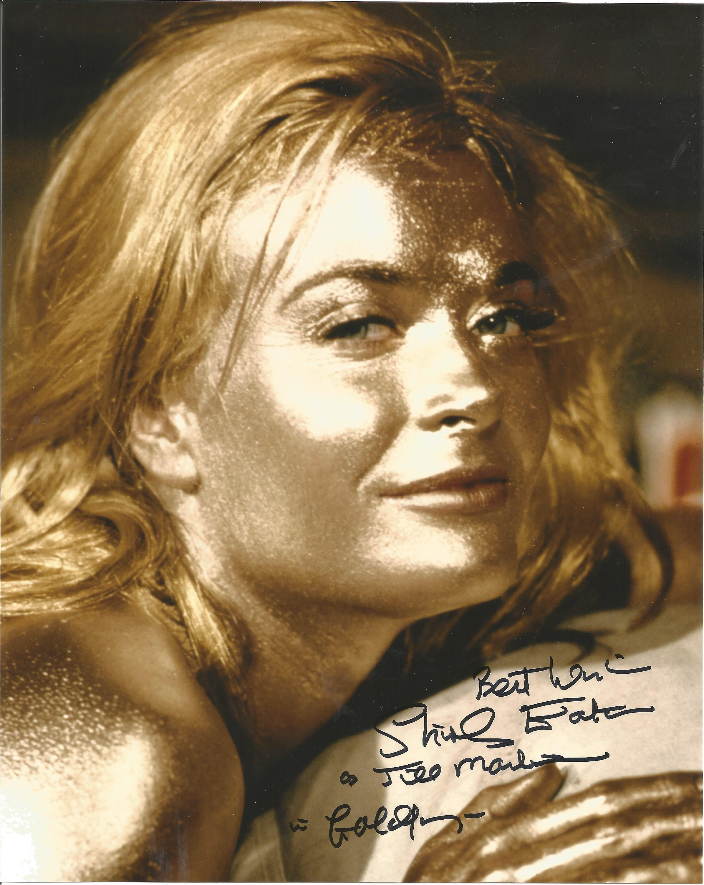 Shirley Eaton signed 10x8 colour photo pictured in her iconic role as Jill Masterson in the Bond