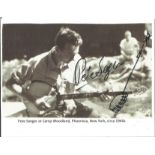 Pete Seeger signed 5x4 black and white postcard photo. Peter Seeger (May 3, 1919 - January 27, 2014)