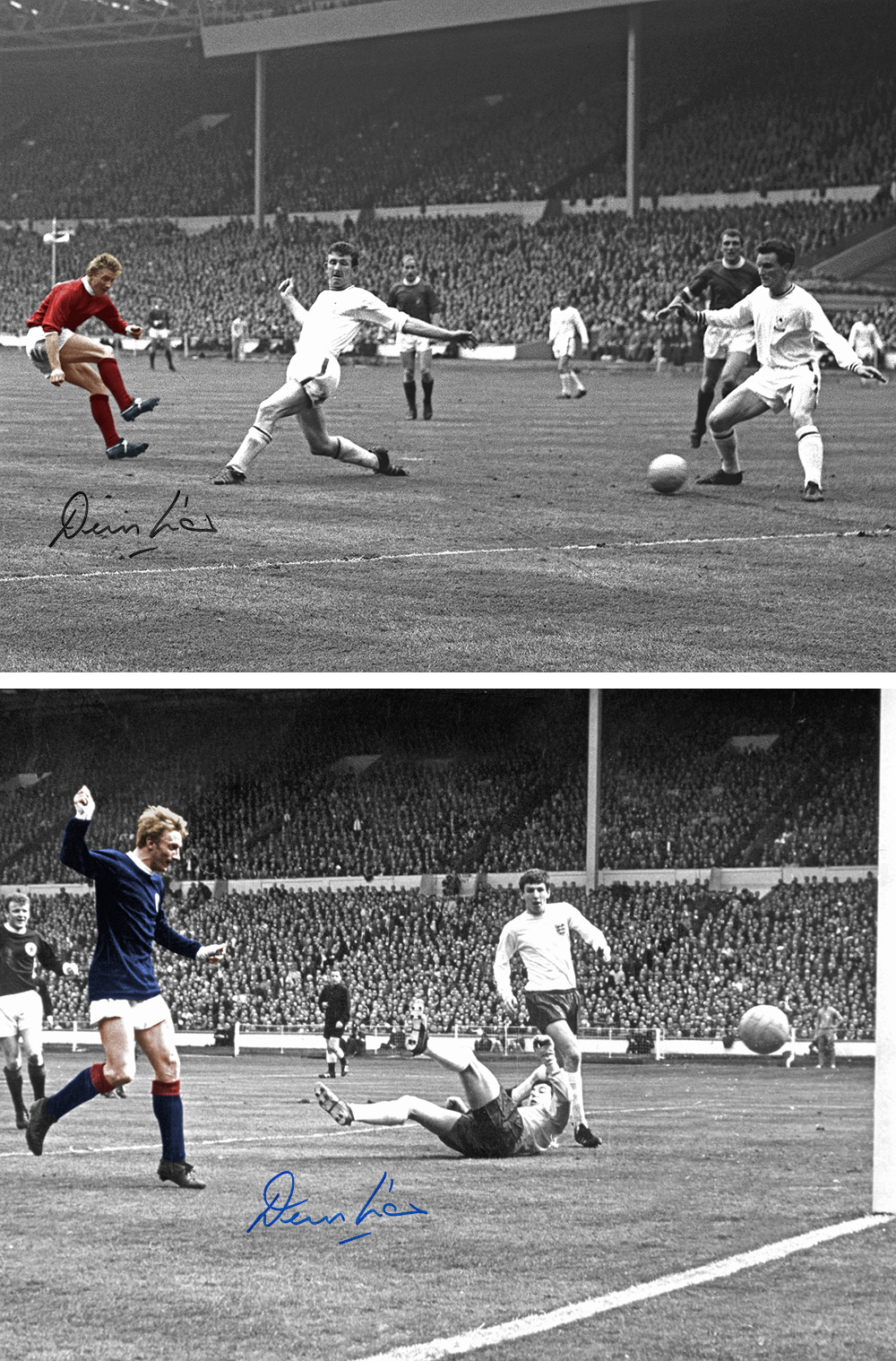 Autographed Denis Law 16 X 12 Photo - Col, Depicting The Man United Striker Scoring In The 1963 Fa