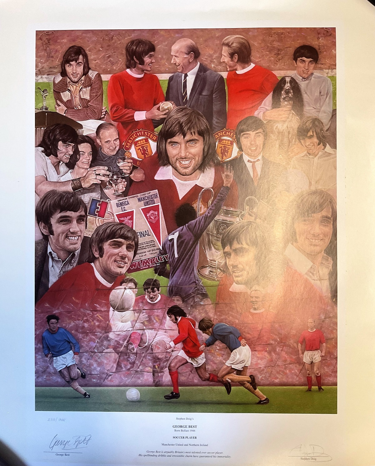 George Best 24x20 print signed by the United legend and the artist Stephen Doig limited edition