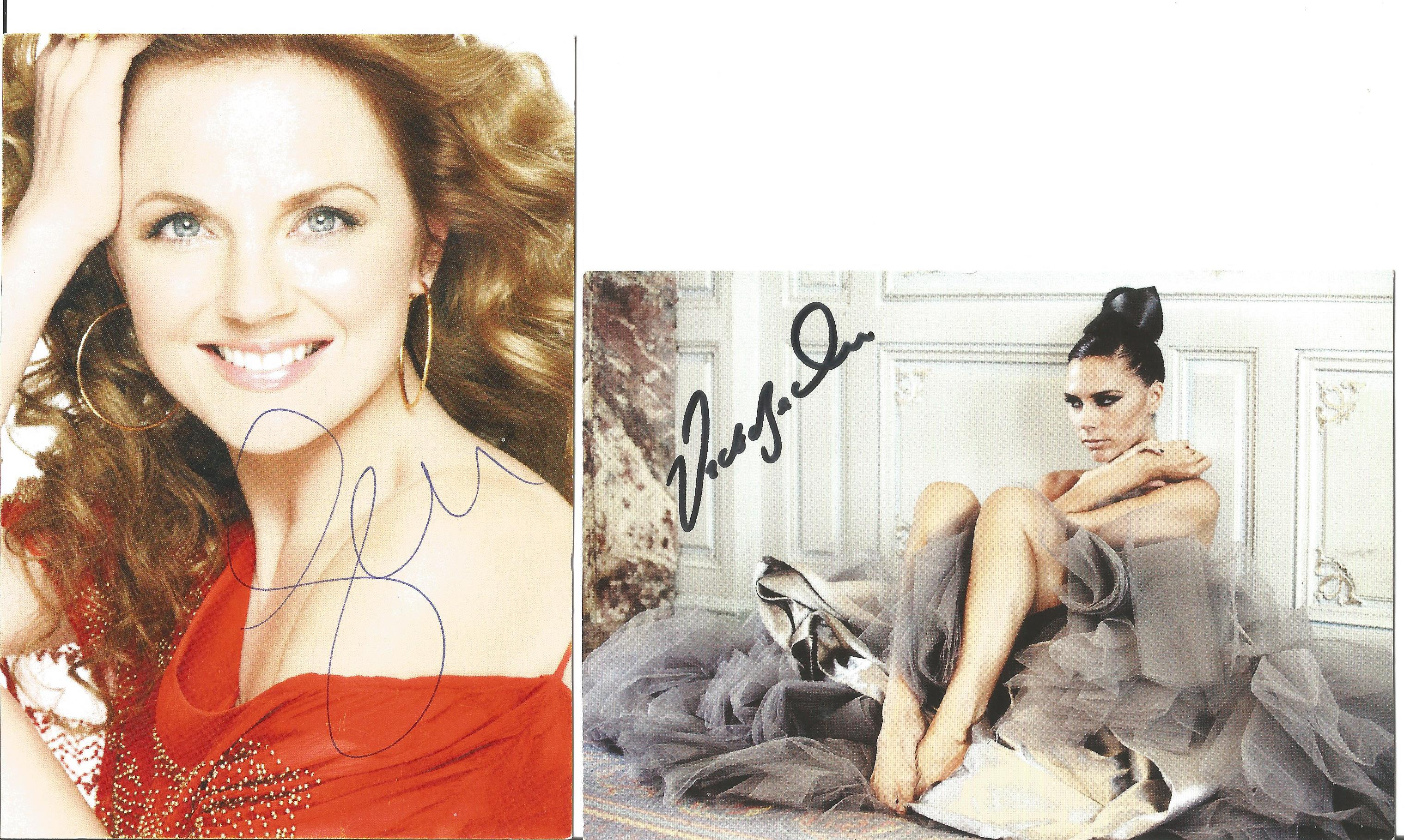 Spice Girl collection Victoria Beckham signed 6x4 colour photo and Geri Halliwell signed 6x4