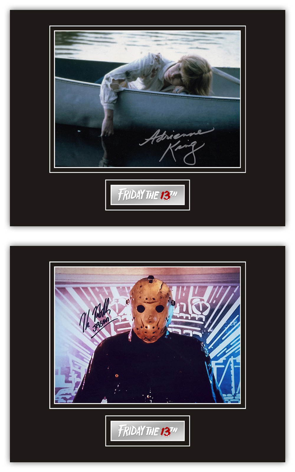 Set of 2 Stunning Displays! Friday 13th hand signed professionally mounted displays. This