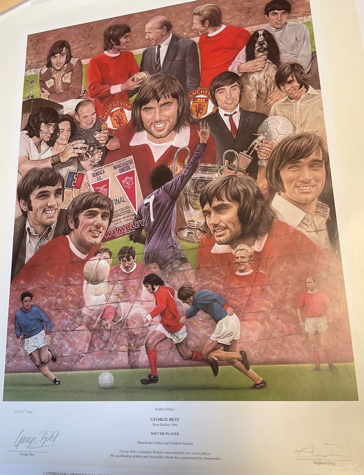George Best 24x20 print signed by the United legend and the artist Stephen Doig limited edition - Image 2 of 2