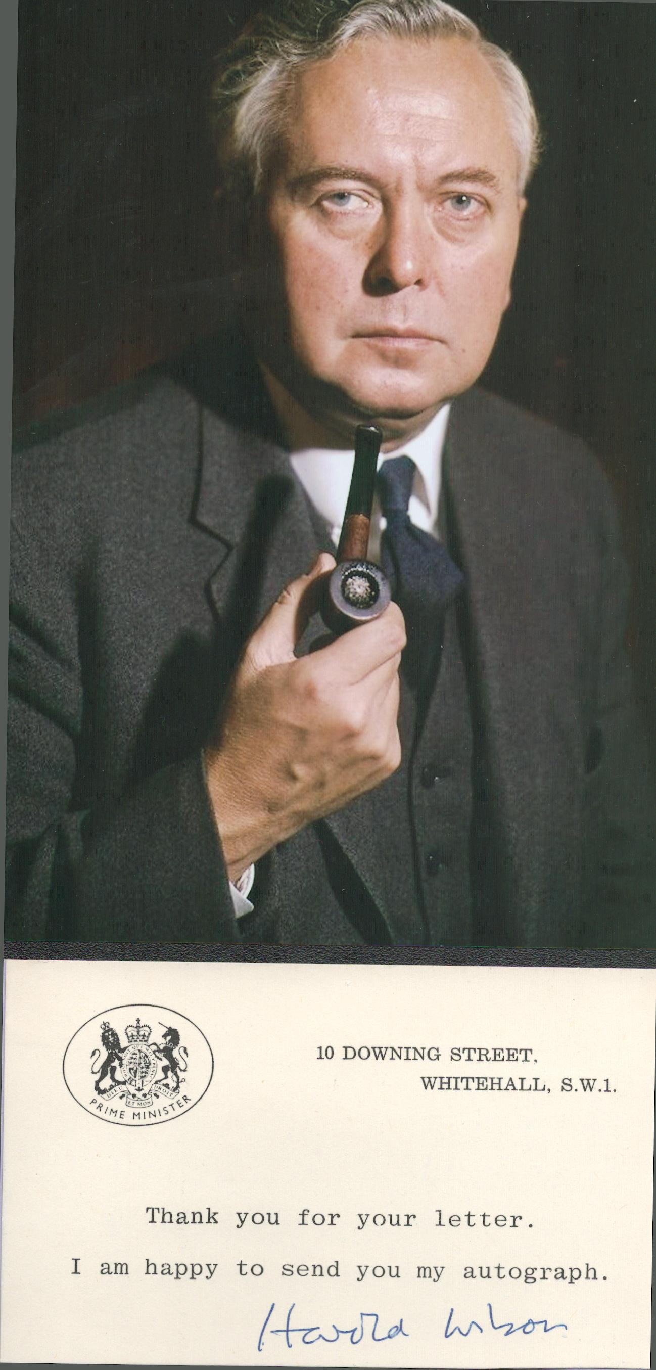 Harold Wilson (1916-1995) British Prime Minister Signed 10 Downing Street Card With Photo. Good