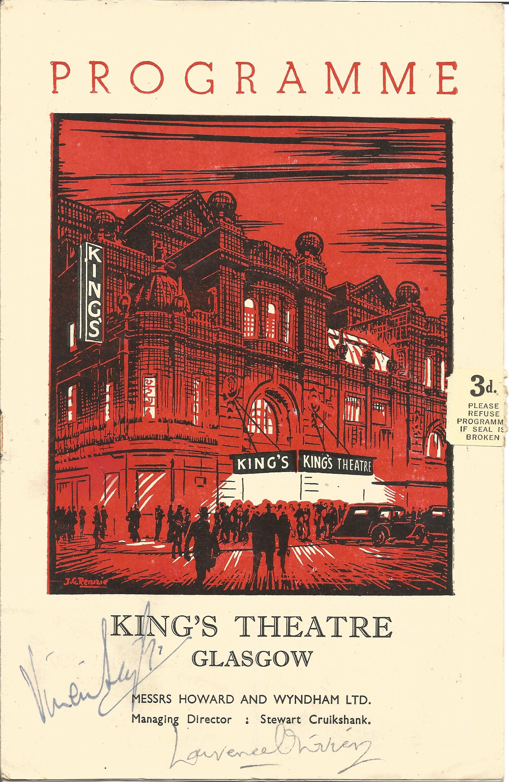 Vivien Leigh and Laurence Olivier signed Kings Theatre Glasgow vintage programme signatures on the