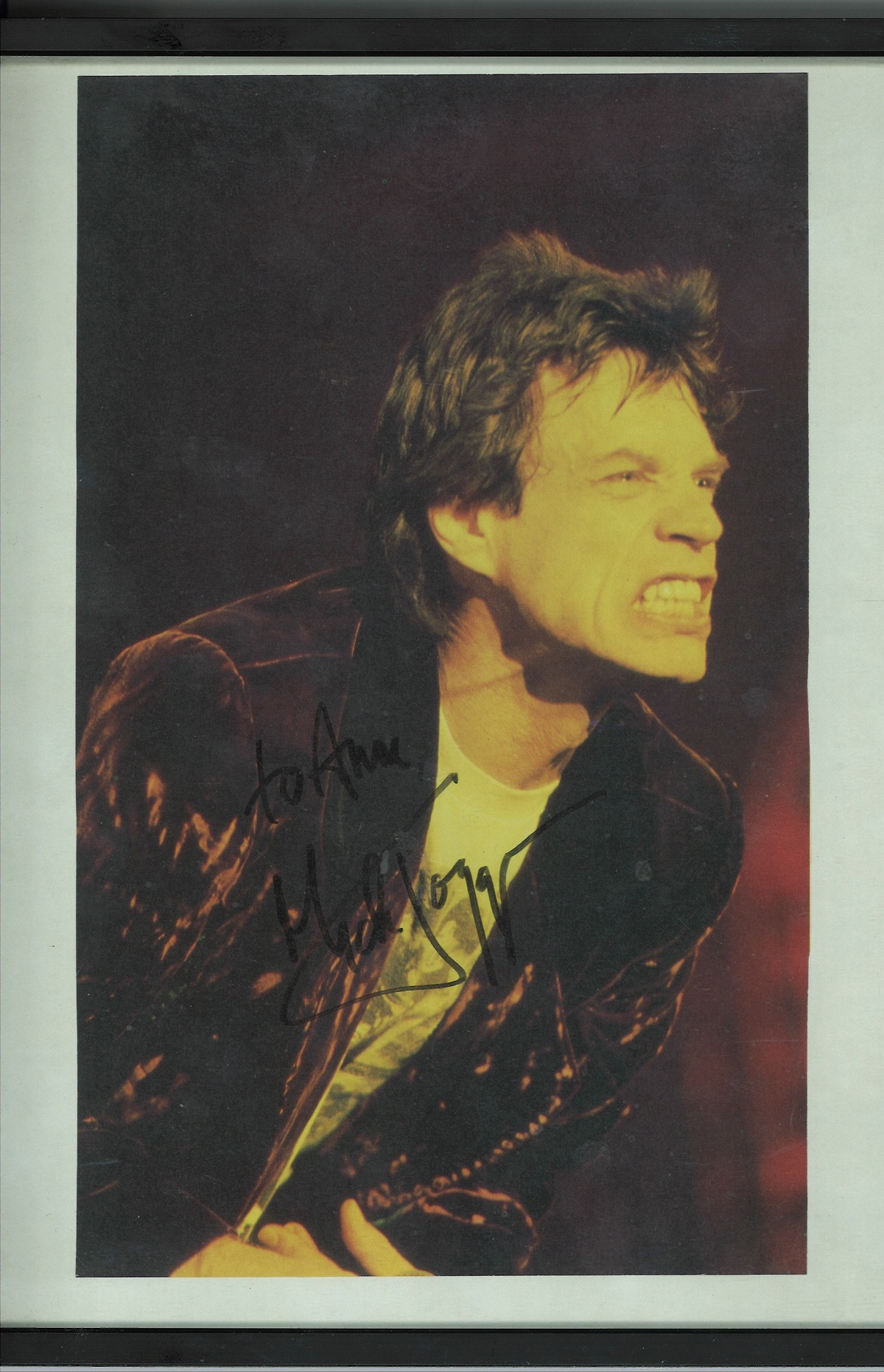 Mick Jagger signed colour photo. Framed to approximate size 12x10. Good condition. All autographs
