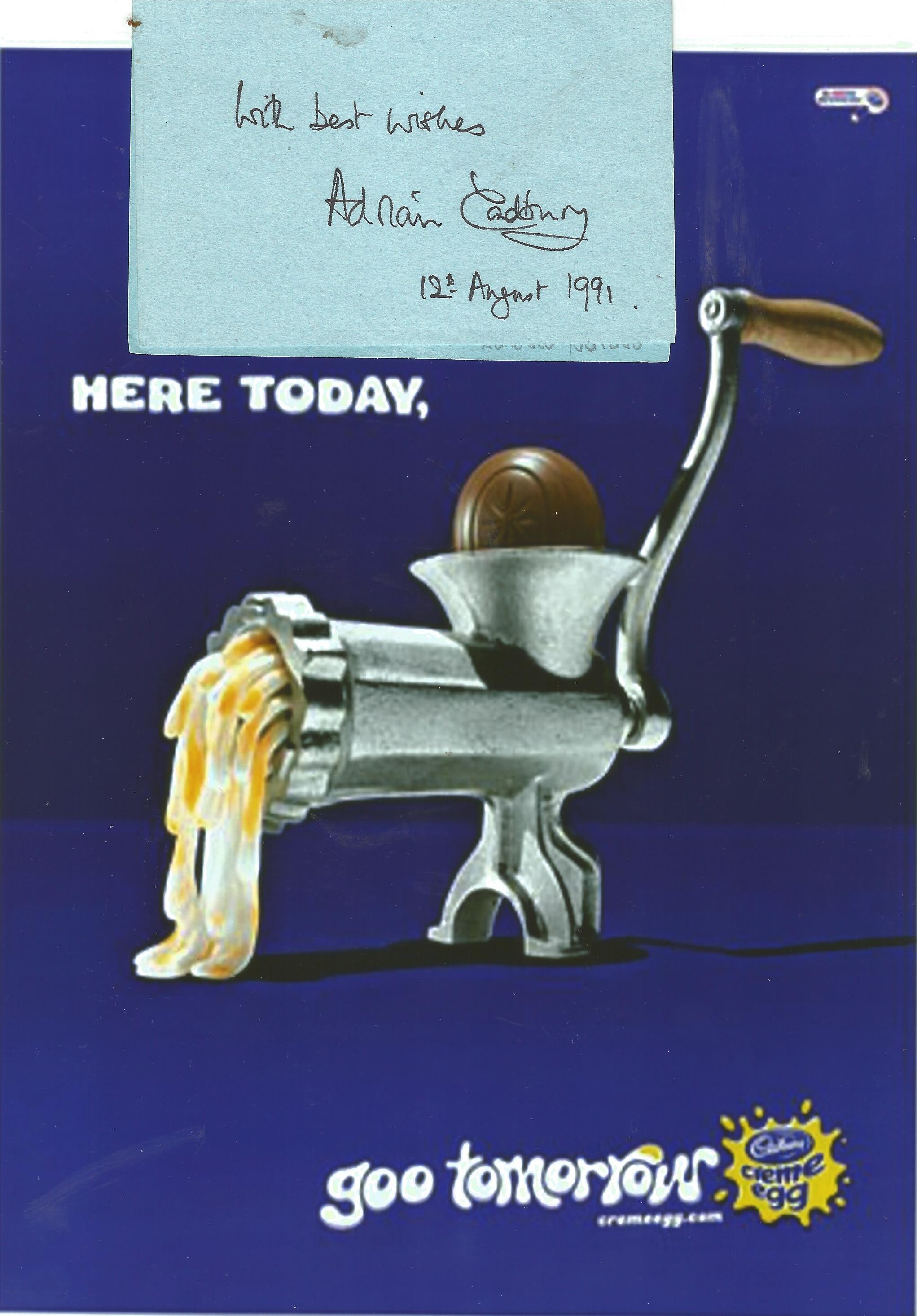 Sir George Adrian Hayhurst Cadbury signature piece includes 4x3 signed card and 10x8 Cadbury Crème