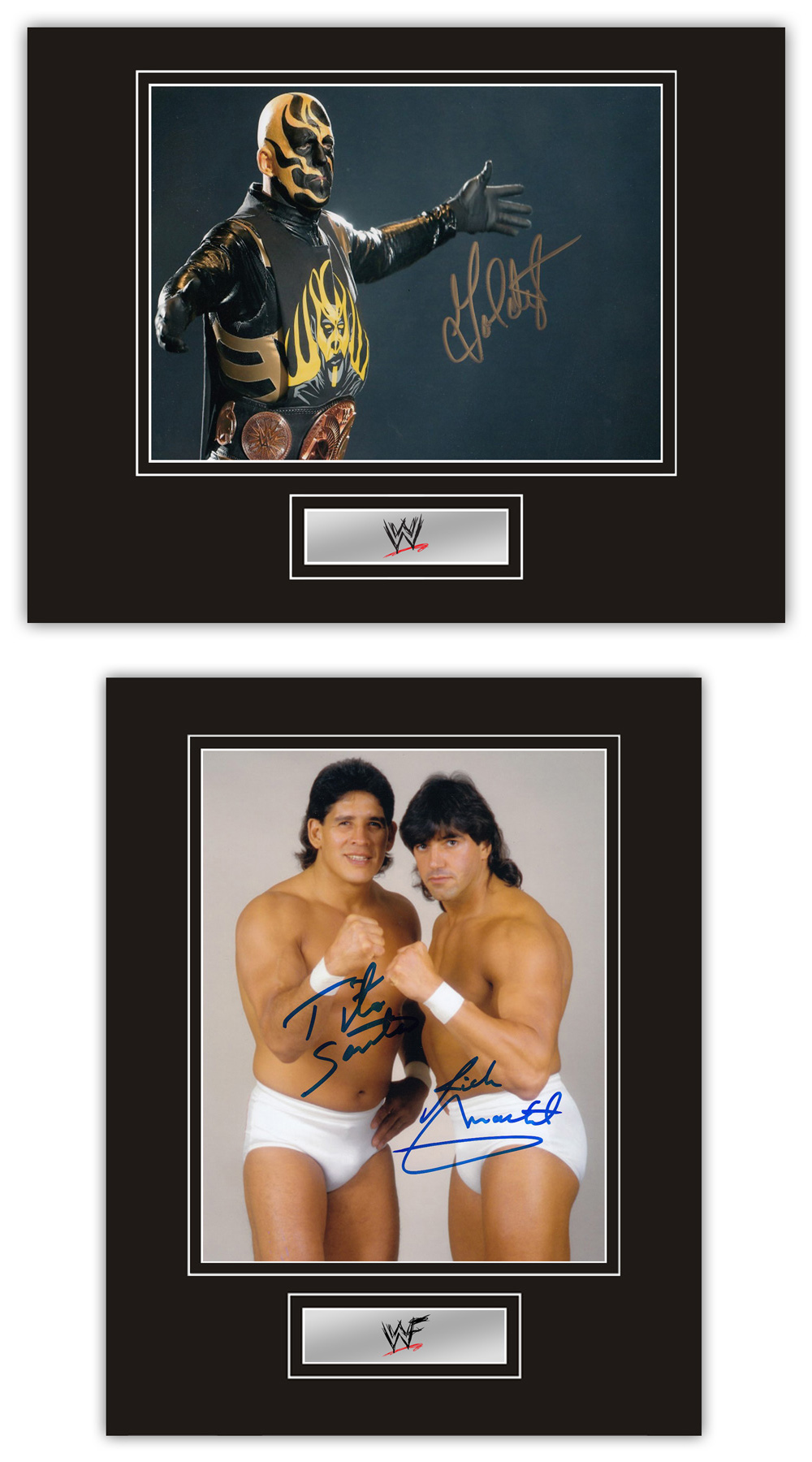 Set of 2 Stunning Displays! WWF / WWE Wrestling hand signed professionally mounted displays. This
