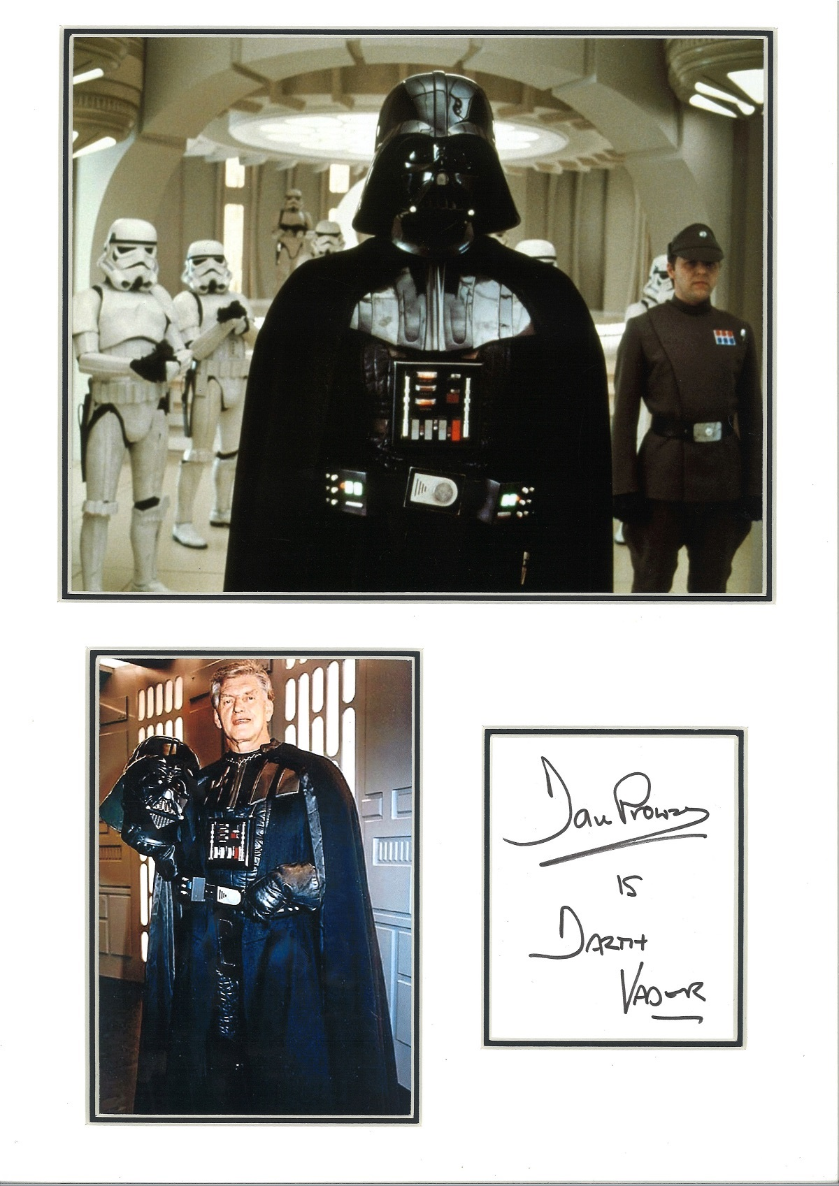 Dave Prowse 18x13 mounted signature piece includes two coloured photos pictured in his role as Darth