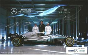 F1 Lewis Hamilton and Valtteri Bottas signed Mercedes illustrated metal plate approx. 8 x 6