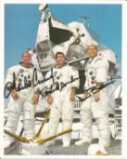 Apollo 12 crew signed 10 x 8 inch colour photo. Signed by Charles Conrad, Richard Gordon and Alan