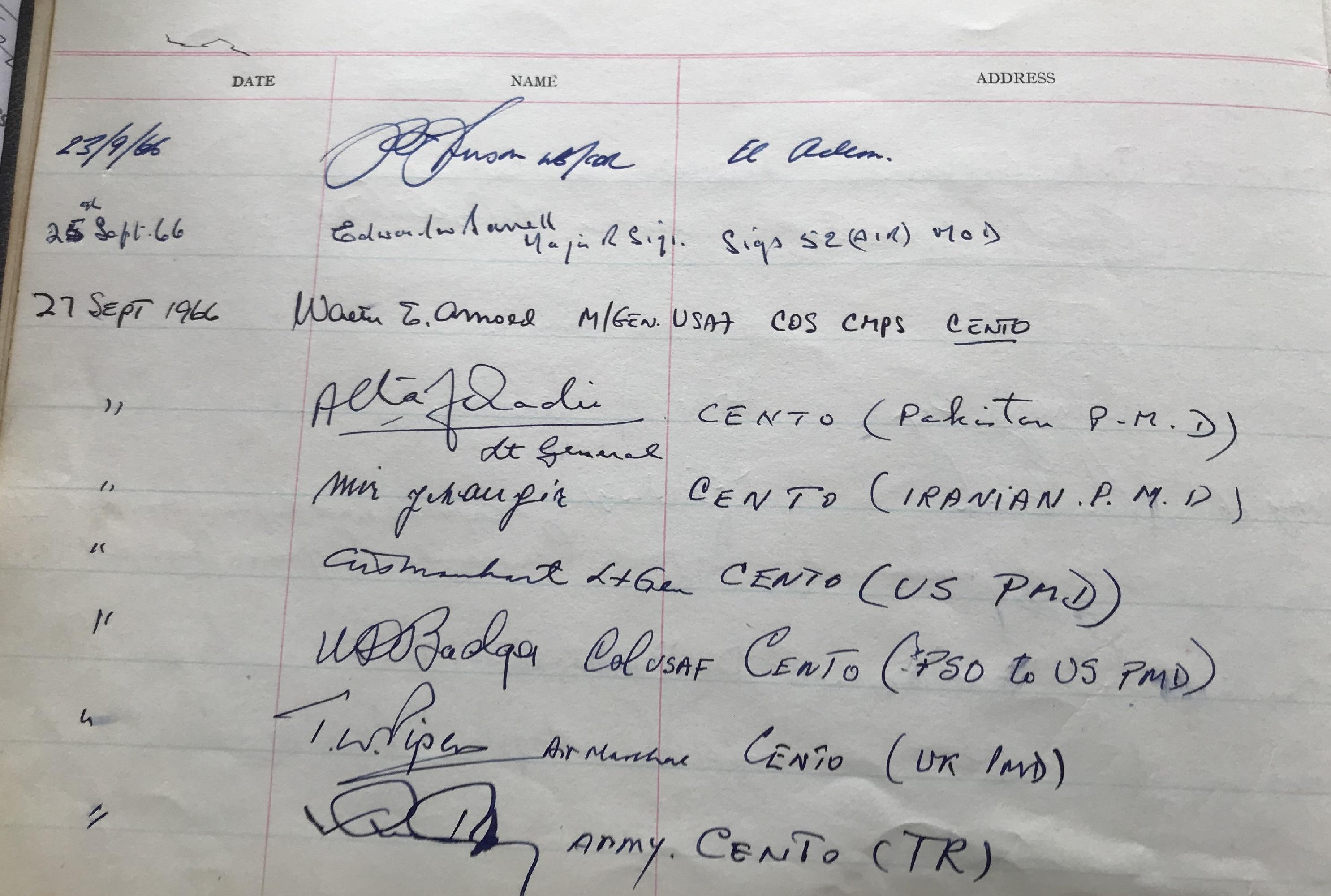 RAF Visitors Book Officers Mess EPISKOPI BFP053 dated 1965-1975 over 60 signatures some rare and - Image 16 of 18