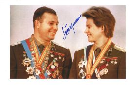 Valentina Tereshkova 1st woman in space signed 12 x 8 inch colour photo with Gagarin. Good