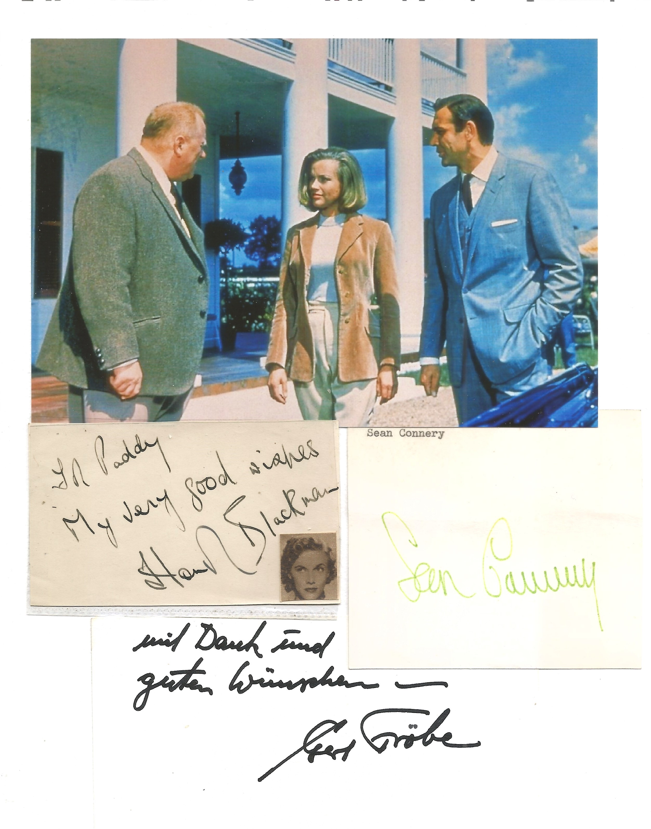 James Bond autographs Sean Connery piece from letter, Gert Frobe card and Honor Blackman album page.