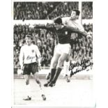 Gordon Banks and Martin Peters signed 10x8 black and white photo pictured in action for England