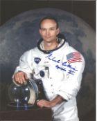 Michael Collins Apollo 11 astronaut signed 10 x 8 inch colour white space suit photo. Good